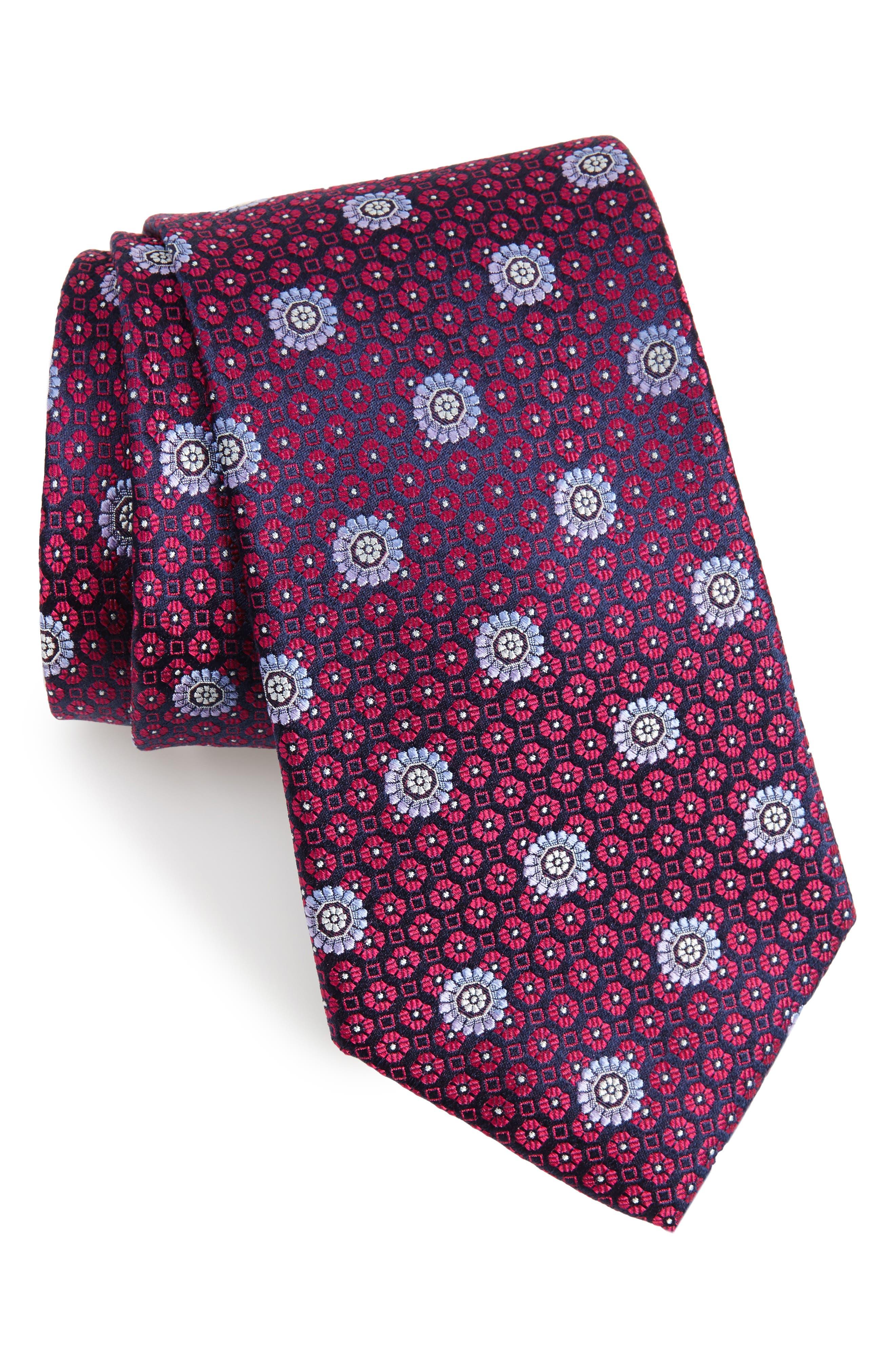 Regency Neat Medallion Silk Tie,                         Main,                         color, Navy Blue