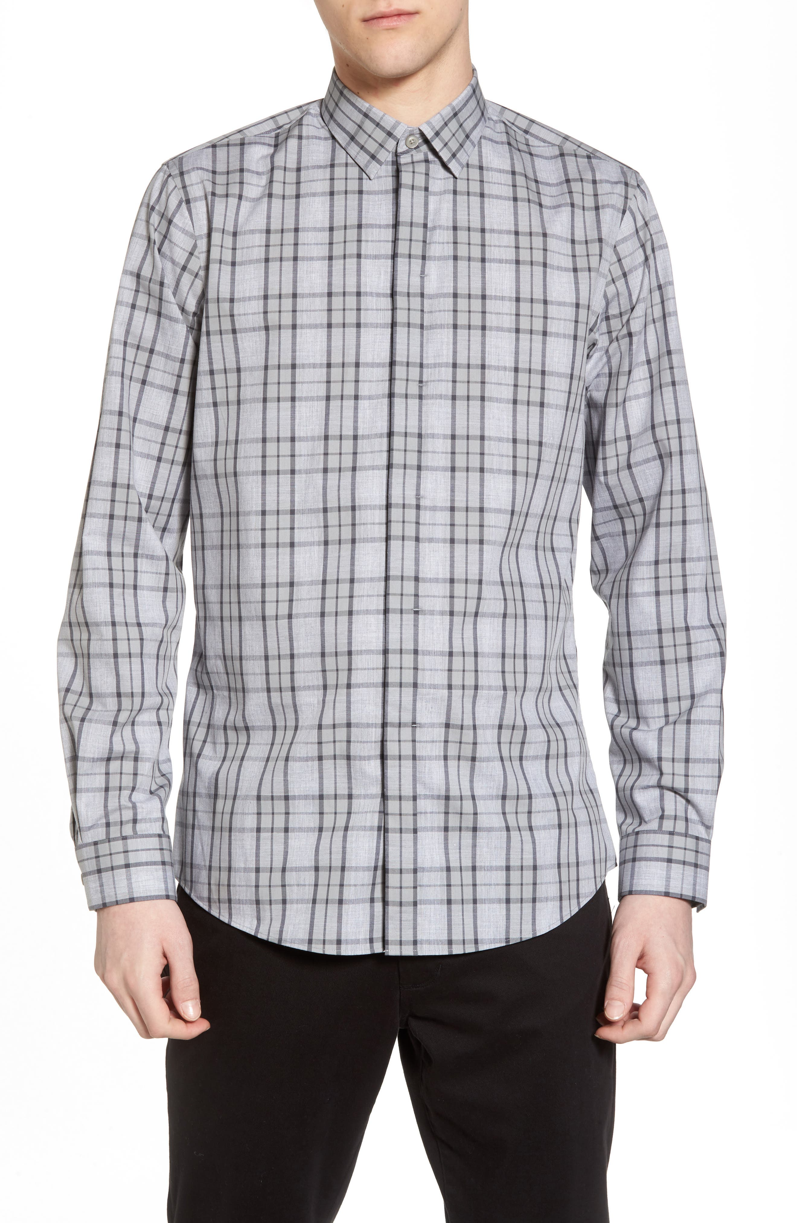 Trim Fit Plaid Sport Shirt,                         Main,                         color, Grey Micro Heather Plaid
