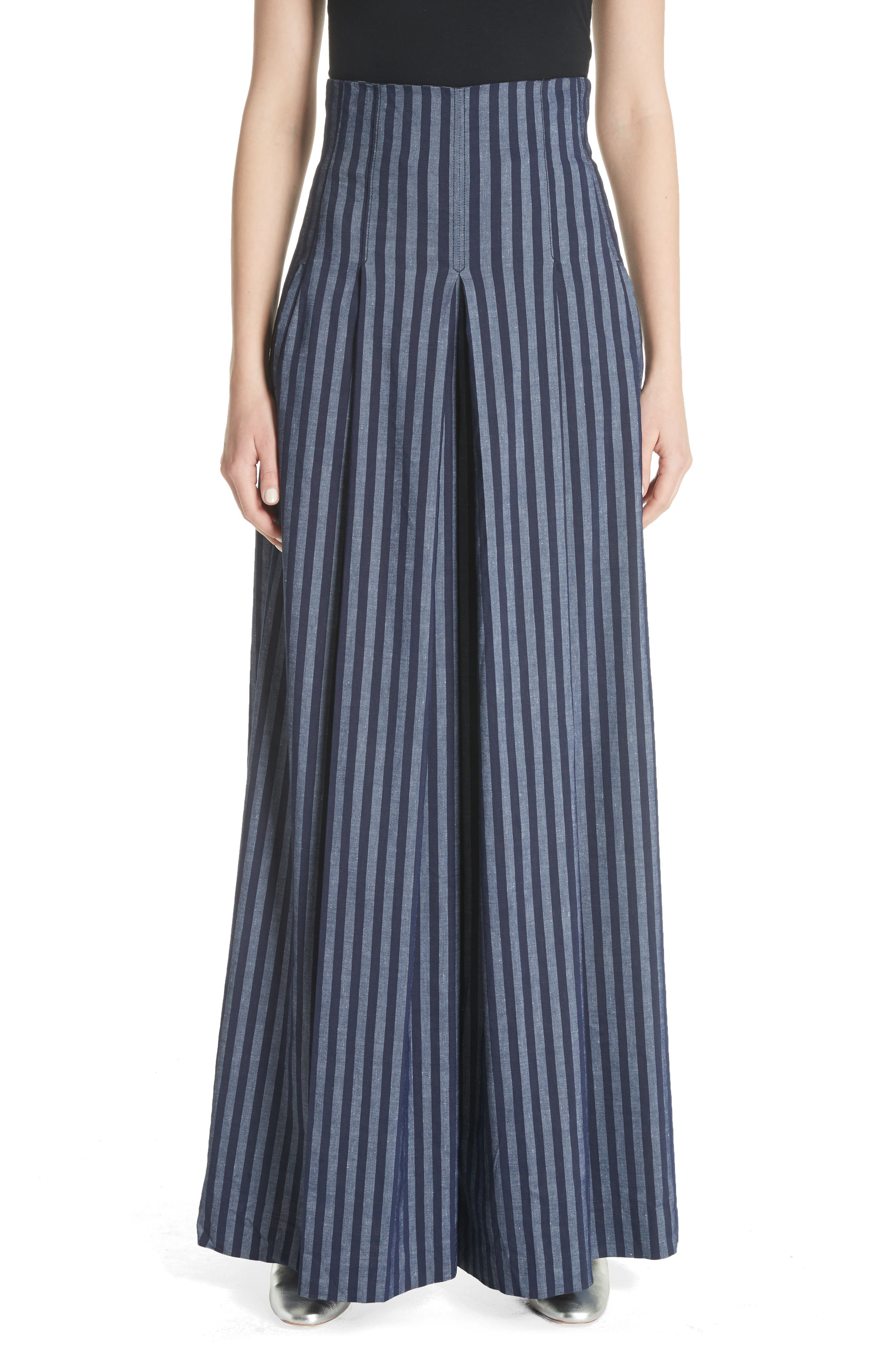 Stripe Wide Leg Pants,                         Main,                         color, India Ink