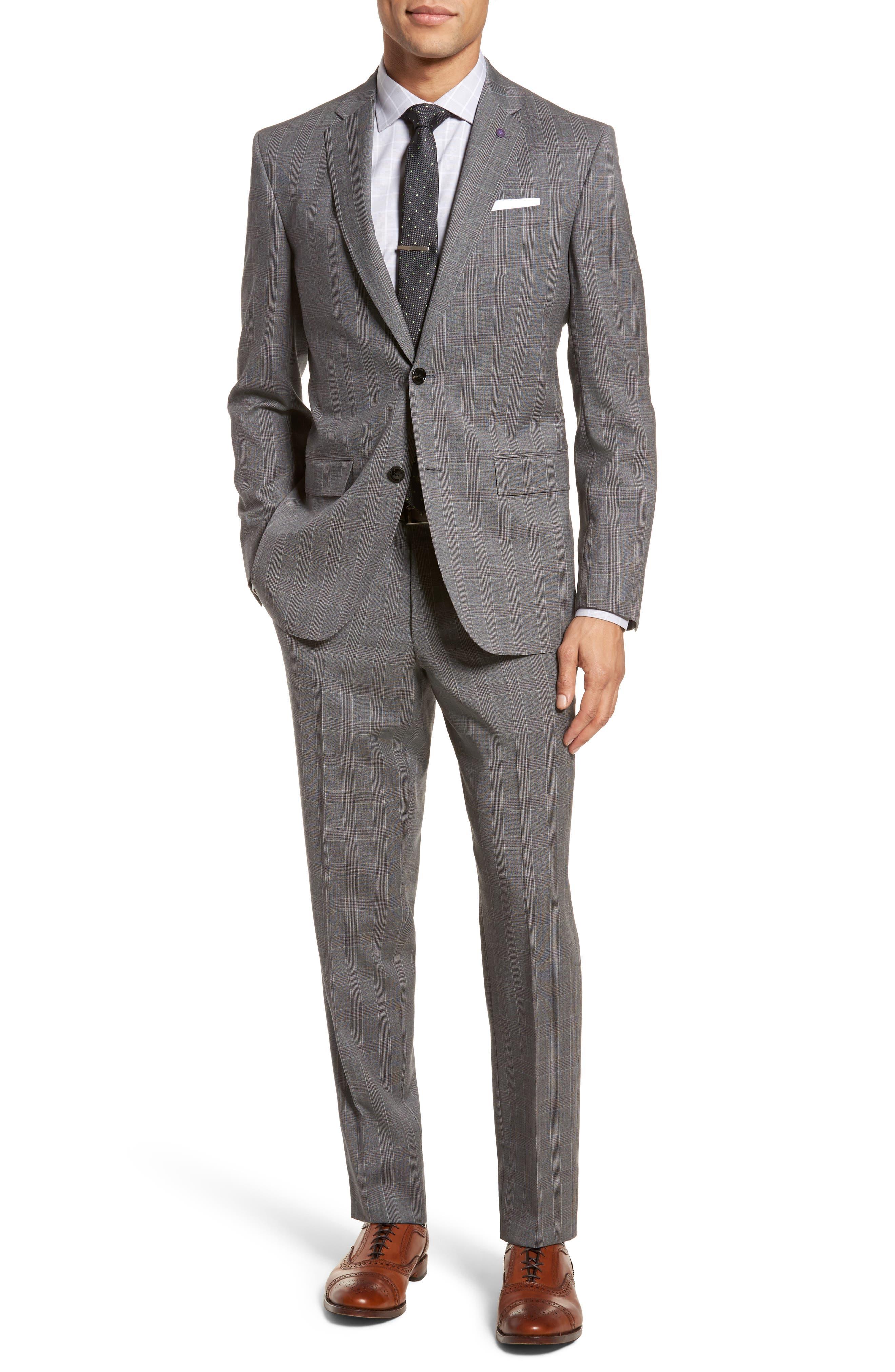 Jay Trim Fit Plaid Wool Suit,                         Main,                         color, Grey