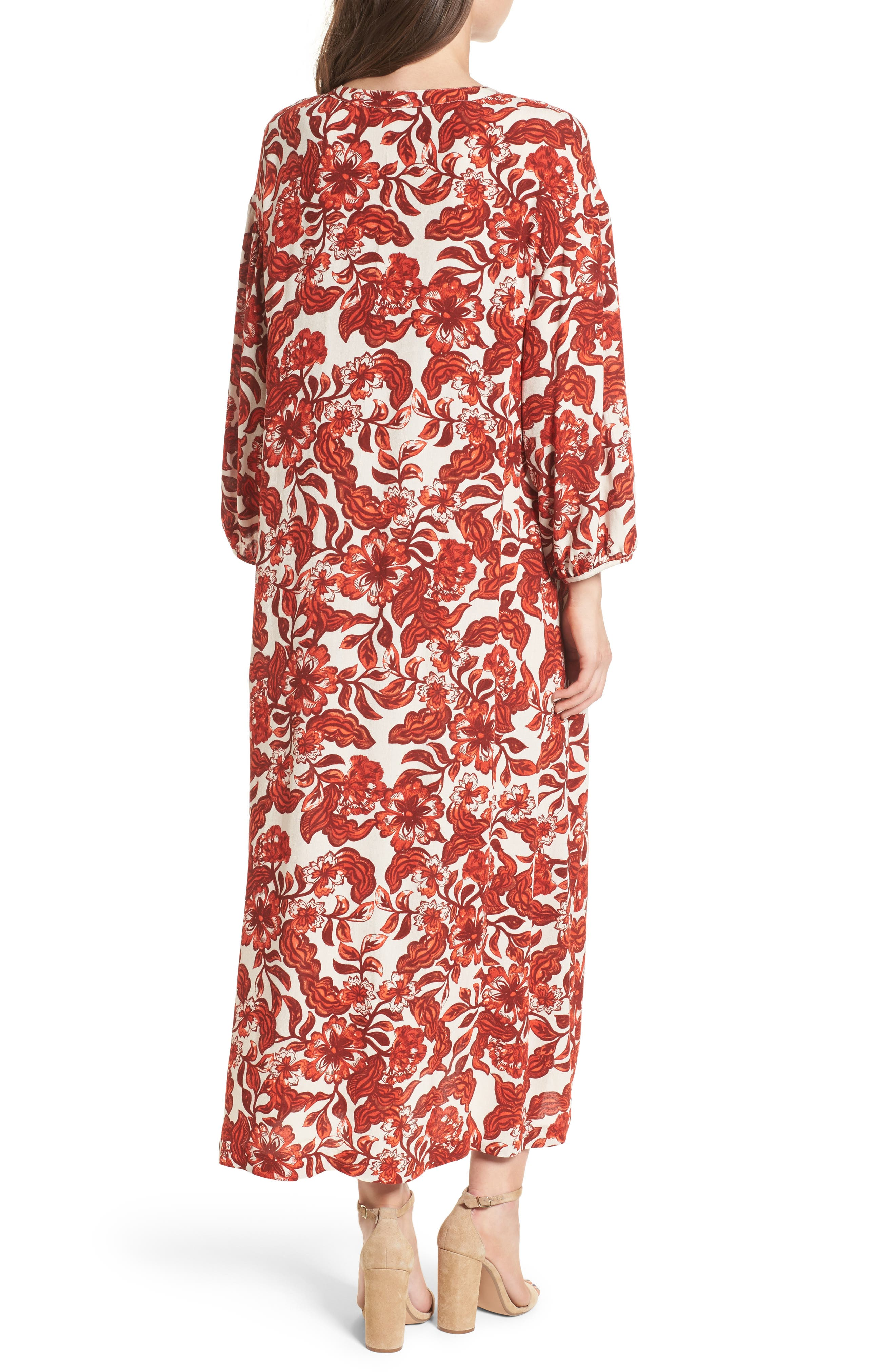 Floral Print Maxi Dress,                             Alternate thumbnail 2, color,                             Red Lava Snap Floral