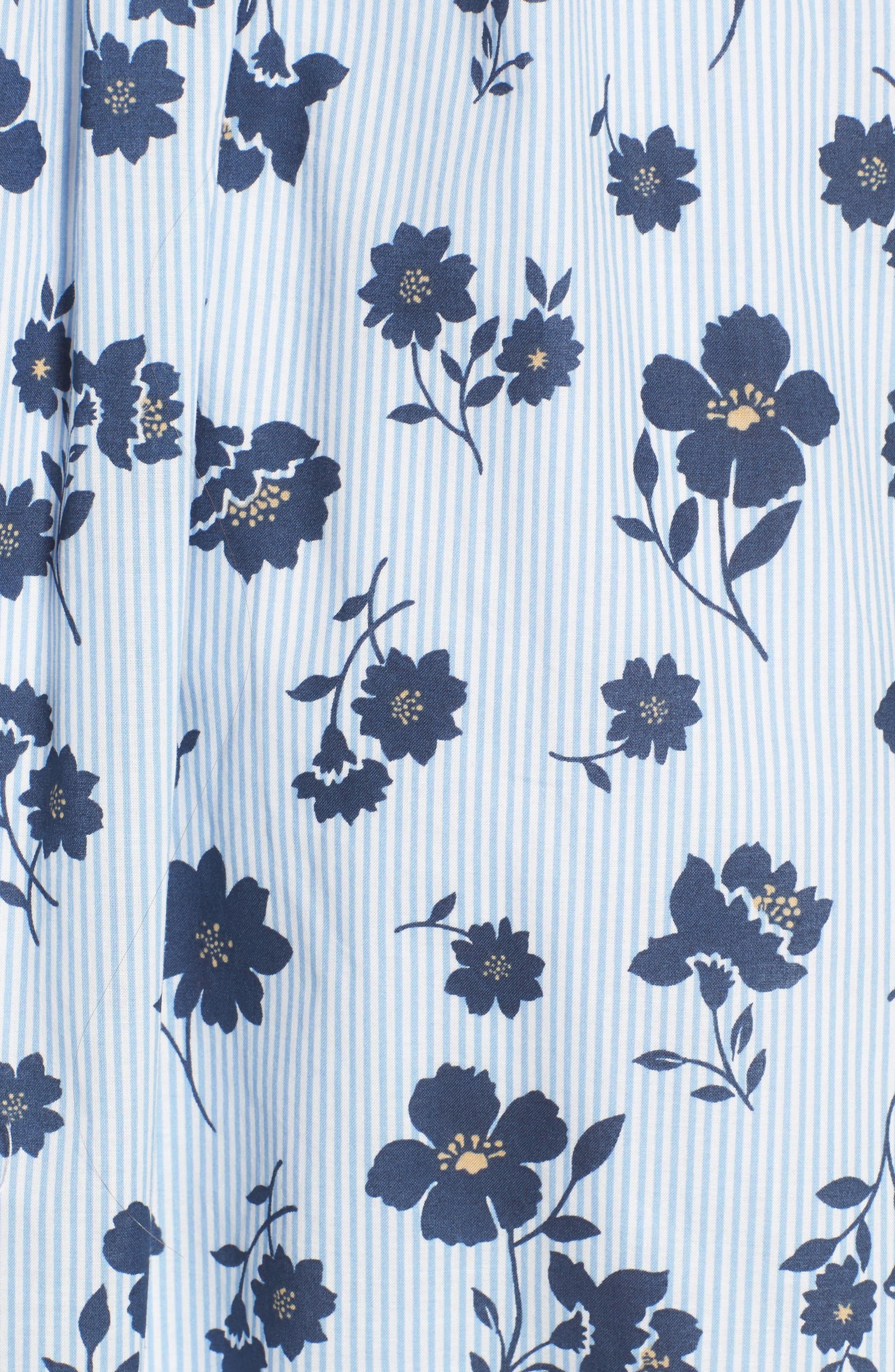 Floral Cotton Fit & Flare Dress,                             Alternate thumbnail 6, color,                             Sky Stripe