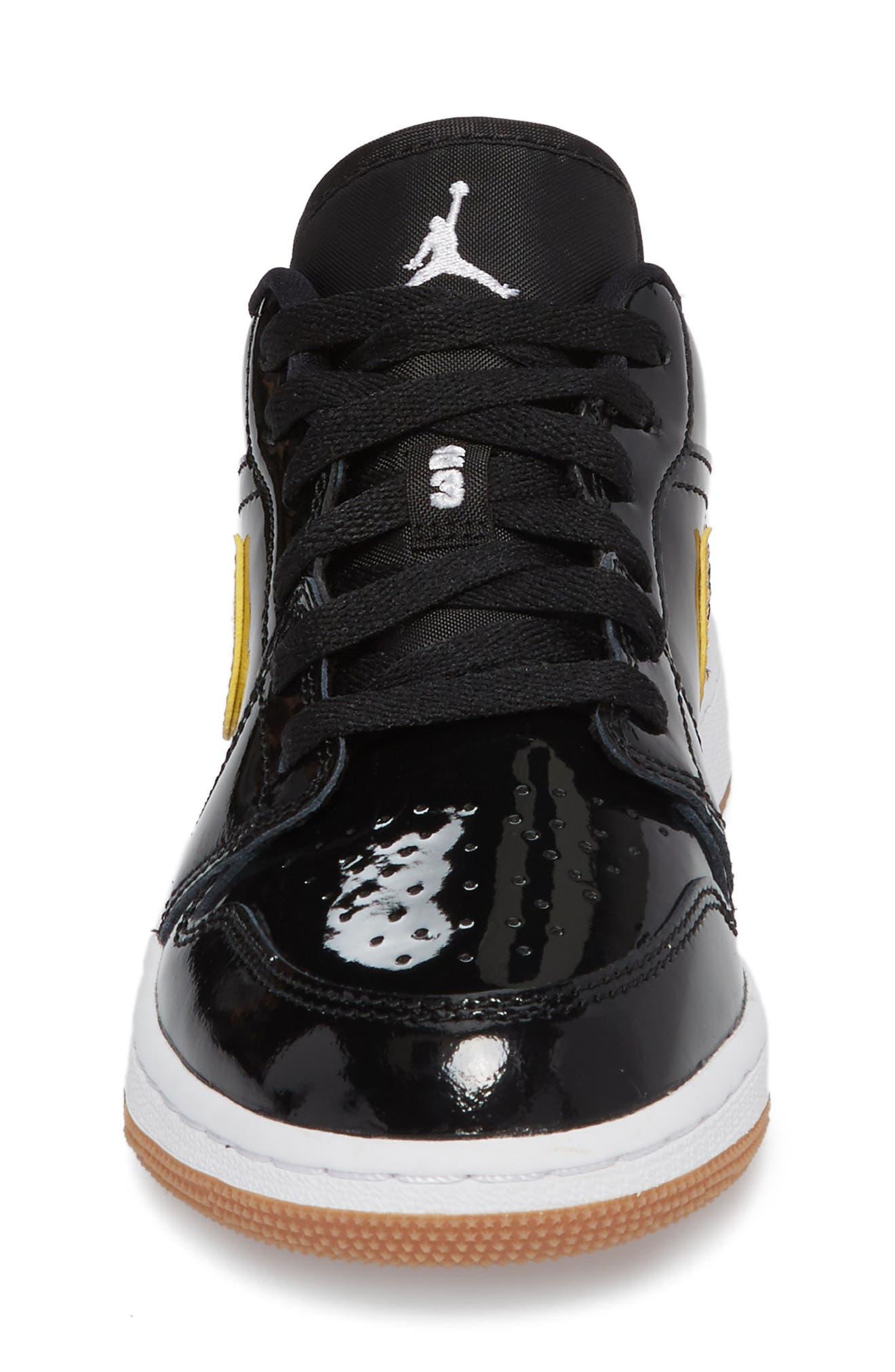Nike 'Jordan 1 Low' Basketball Shoe,                             Alternate thumbnail 4, color,                             Black/ Metallic Gold/ White