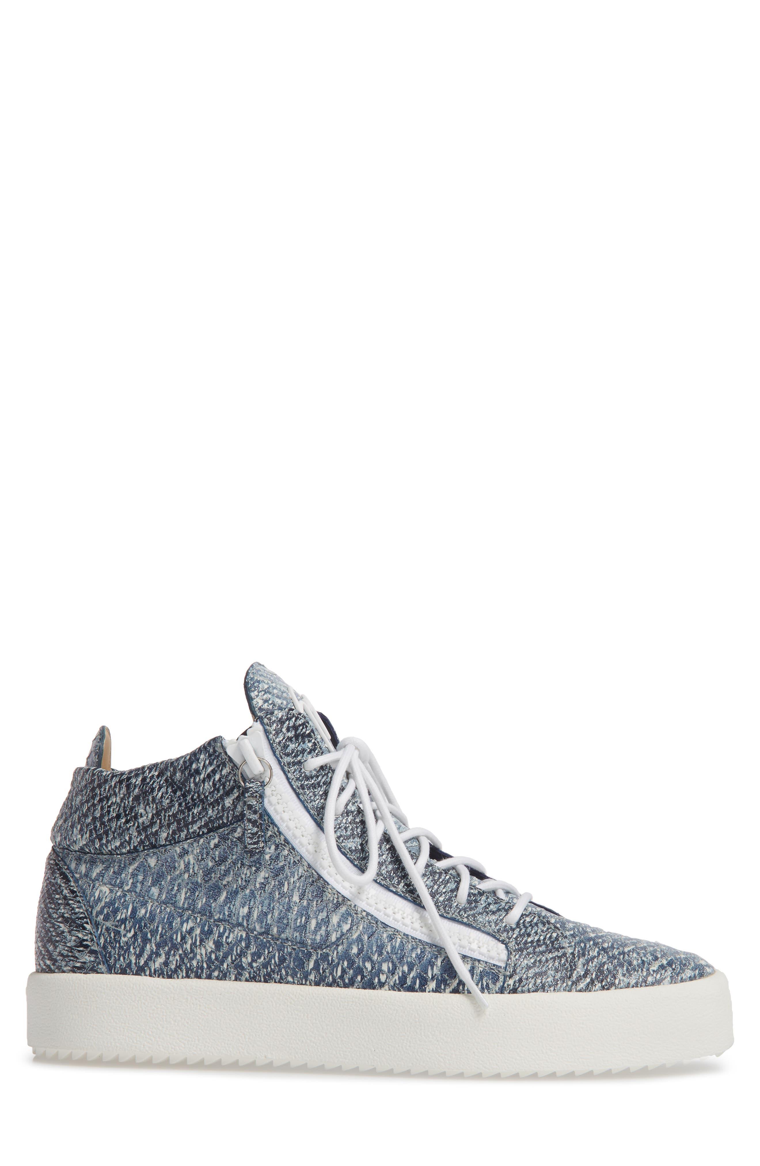 Snake Embossed Sneaker,                             Alternate thumbnail 3, color,                             Denim Blue Snake