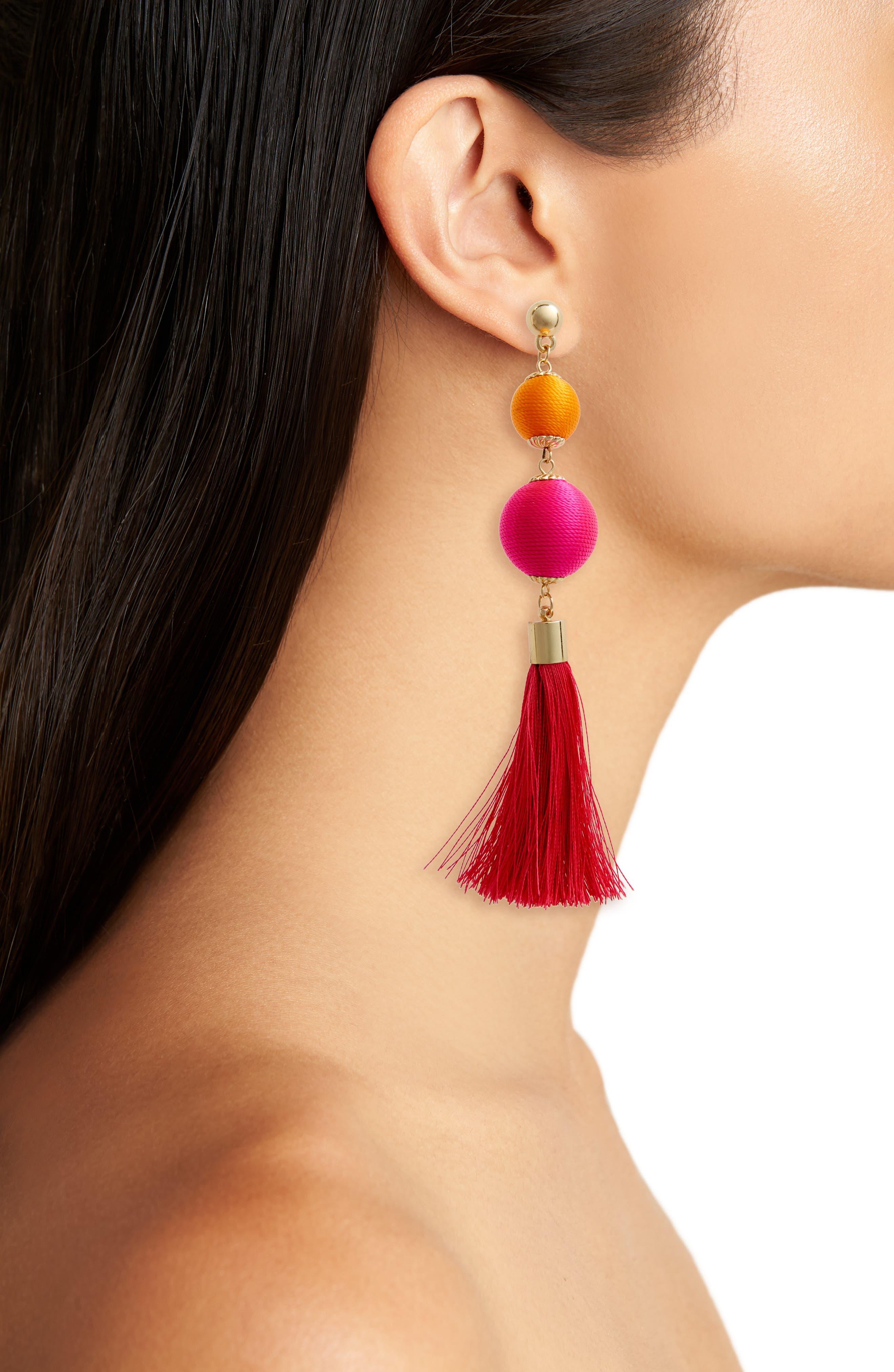 Ball Drop Earrings,                             Alternate thumbnail 2, color,                             Pink