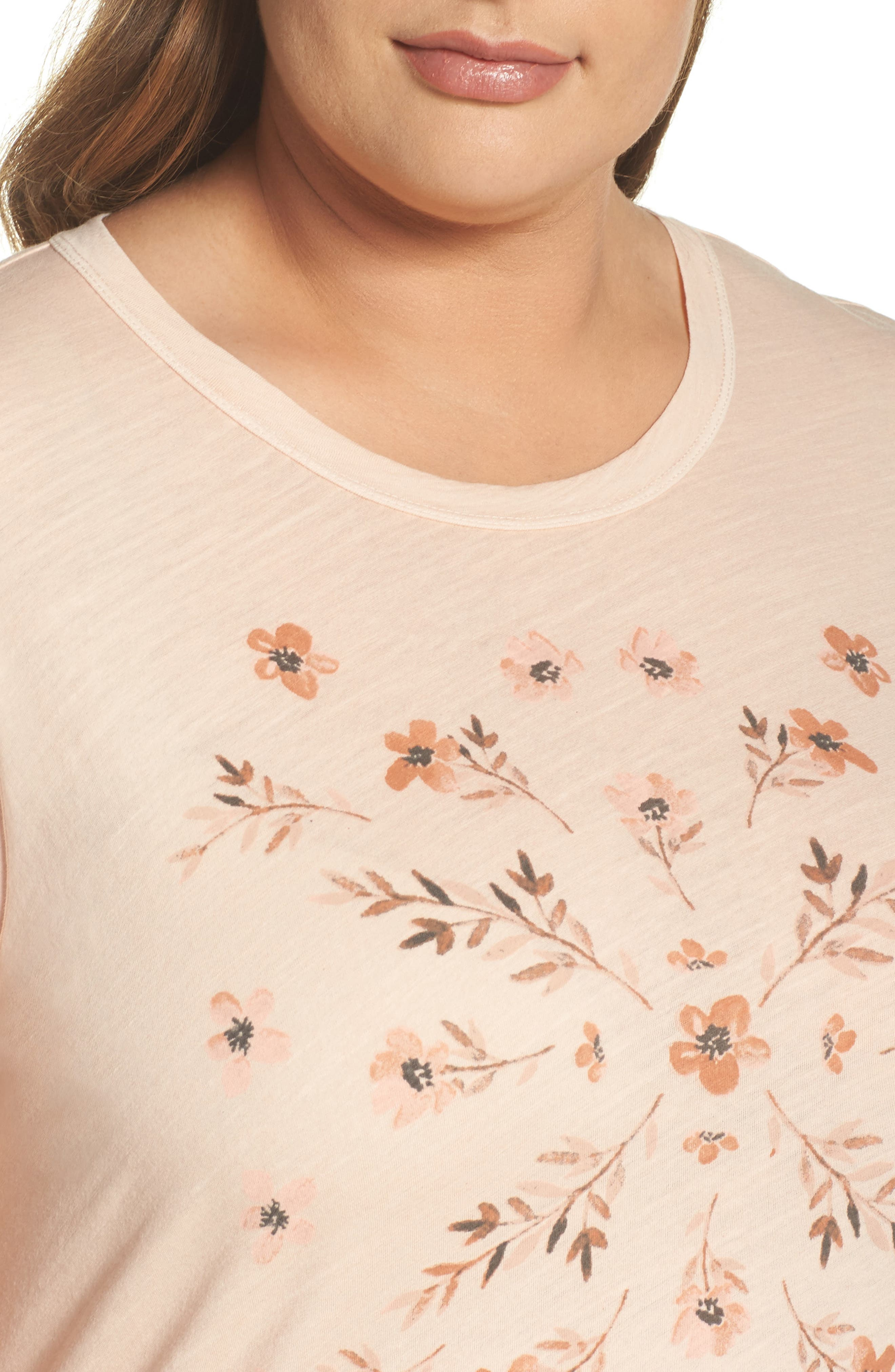 Stamped Flowers Tee,                             Alternate thumbnail 4, color,                             Shell