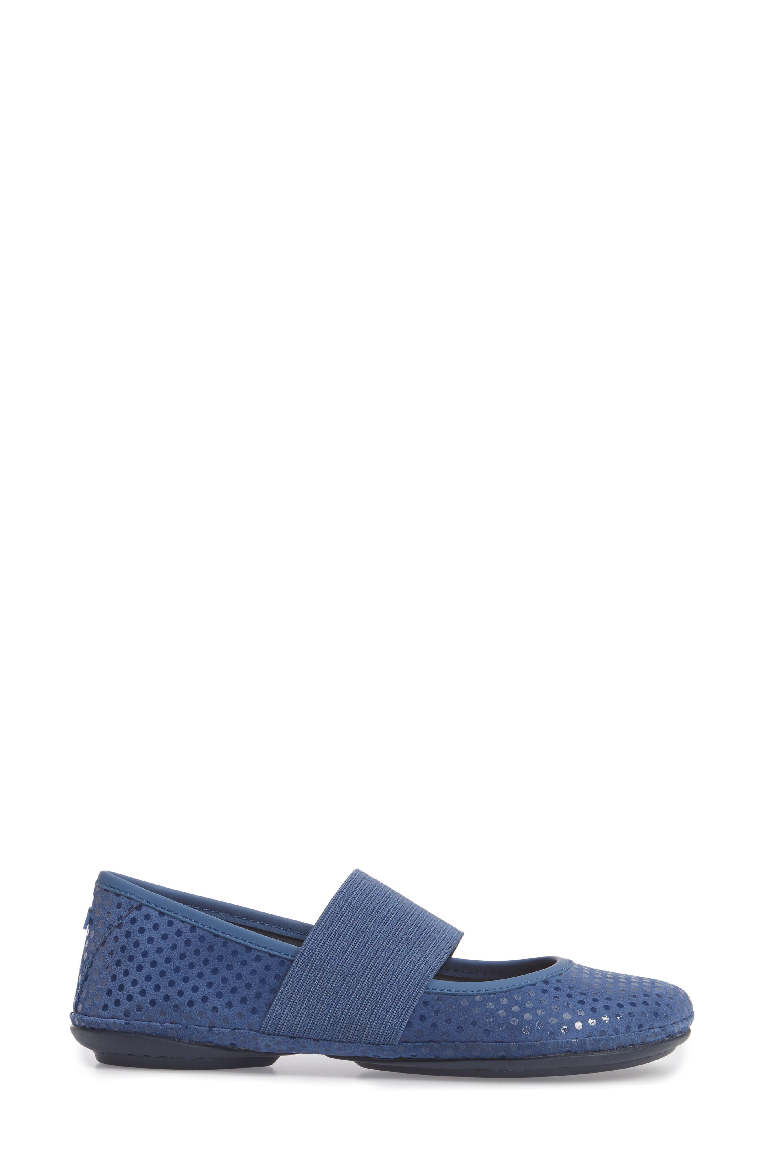 Right Nina Ballerina Flat,                             Alternate thumbnail 3, color,                             Medium Blue Nubuck