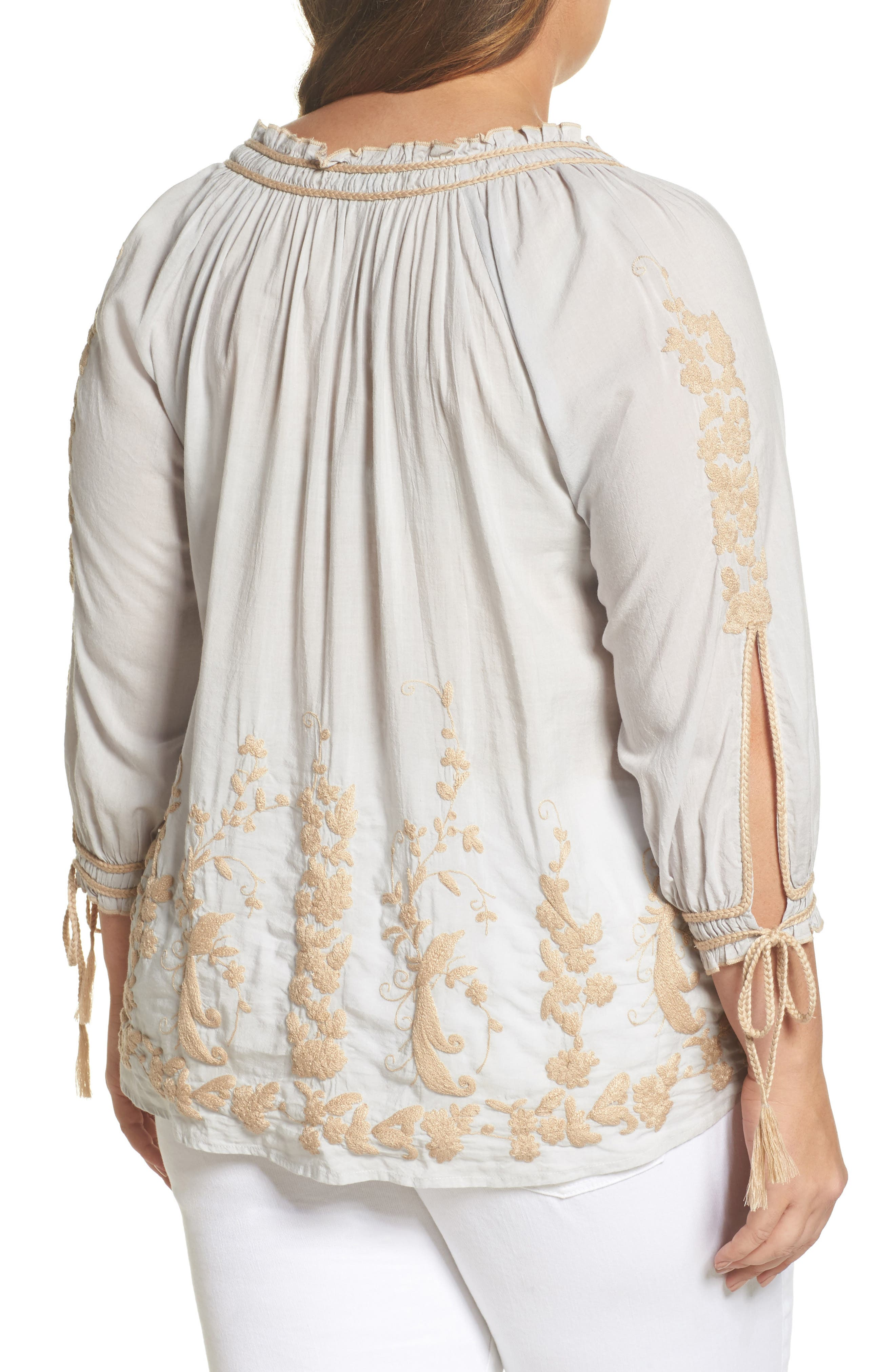 Embroidered Peasant Top,                             Alternate thumbnail 2, color,                             Ice