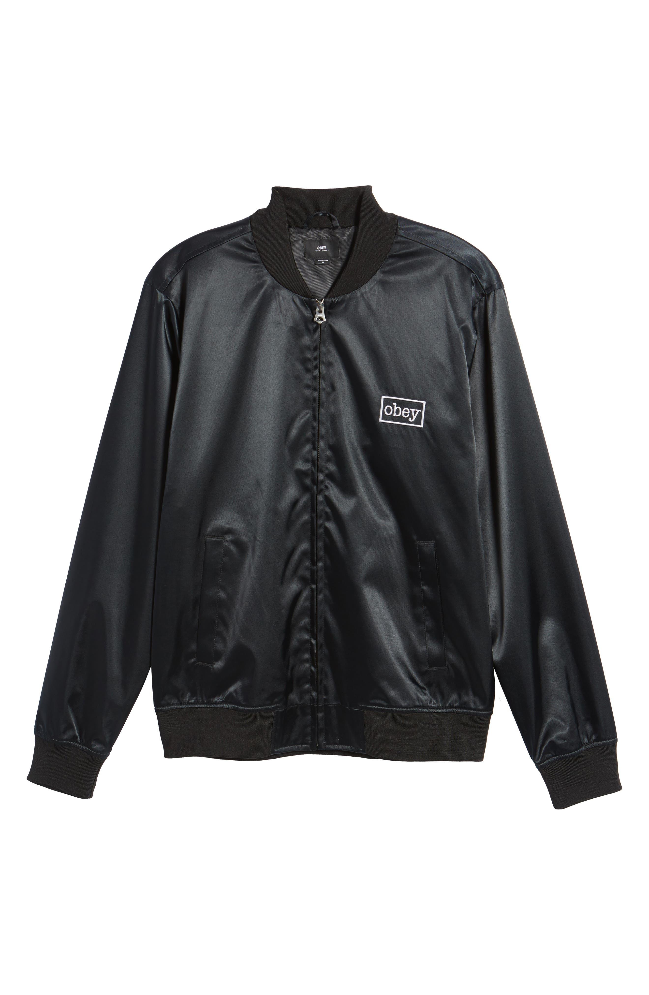 Band Bomber Jacket,                             Alternate thumbnail 6, color,                             Black