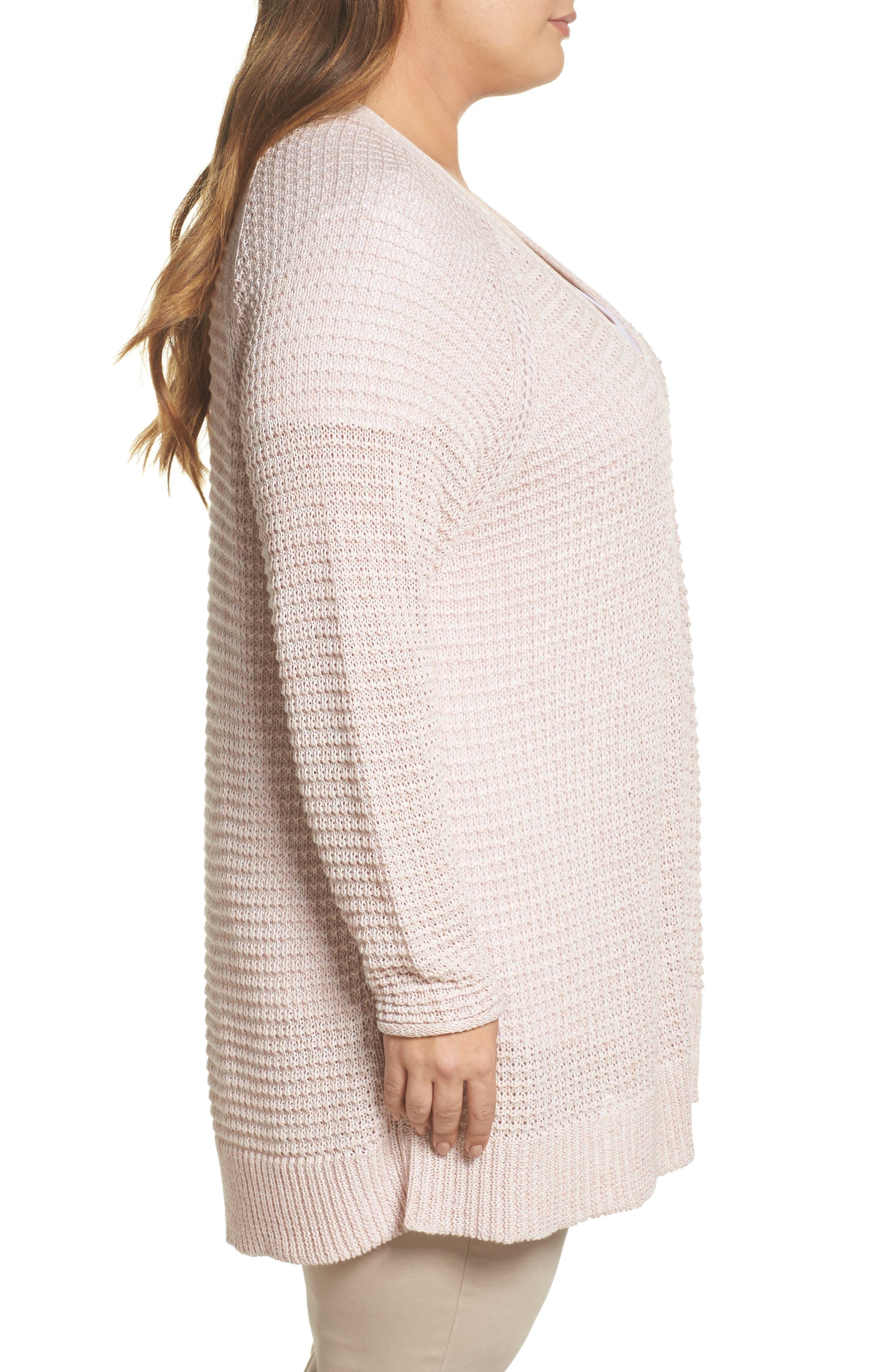 Easy Knit Cardigan,                             Alternate thumbnail 3, color,                             Beige Linen Fern Marl