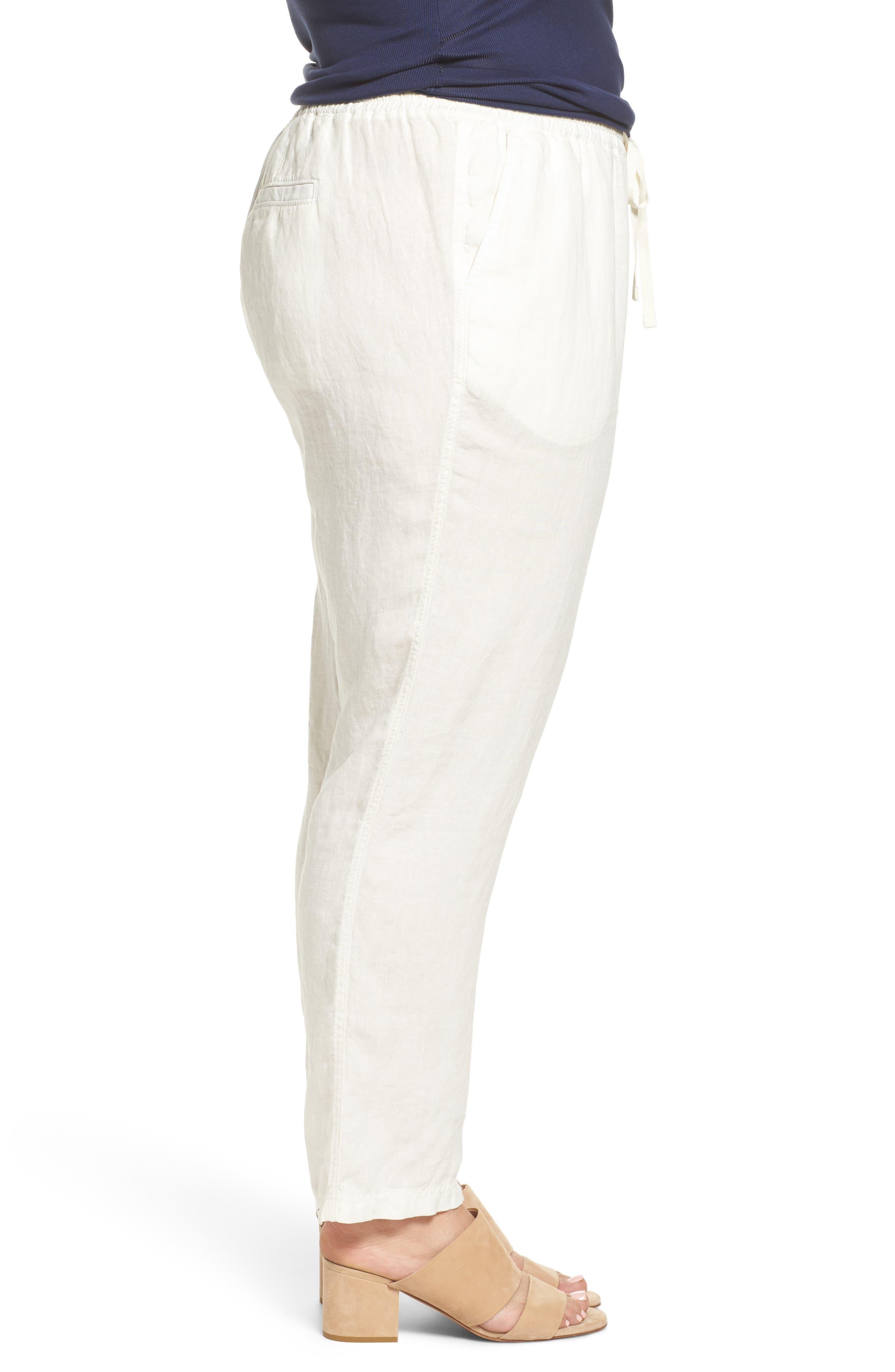 Linen Drawstring Pants,                             Alternate thumbnail 3, color,                             Ivory Cloud