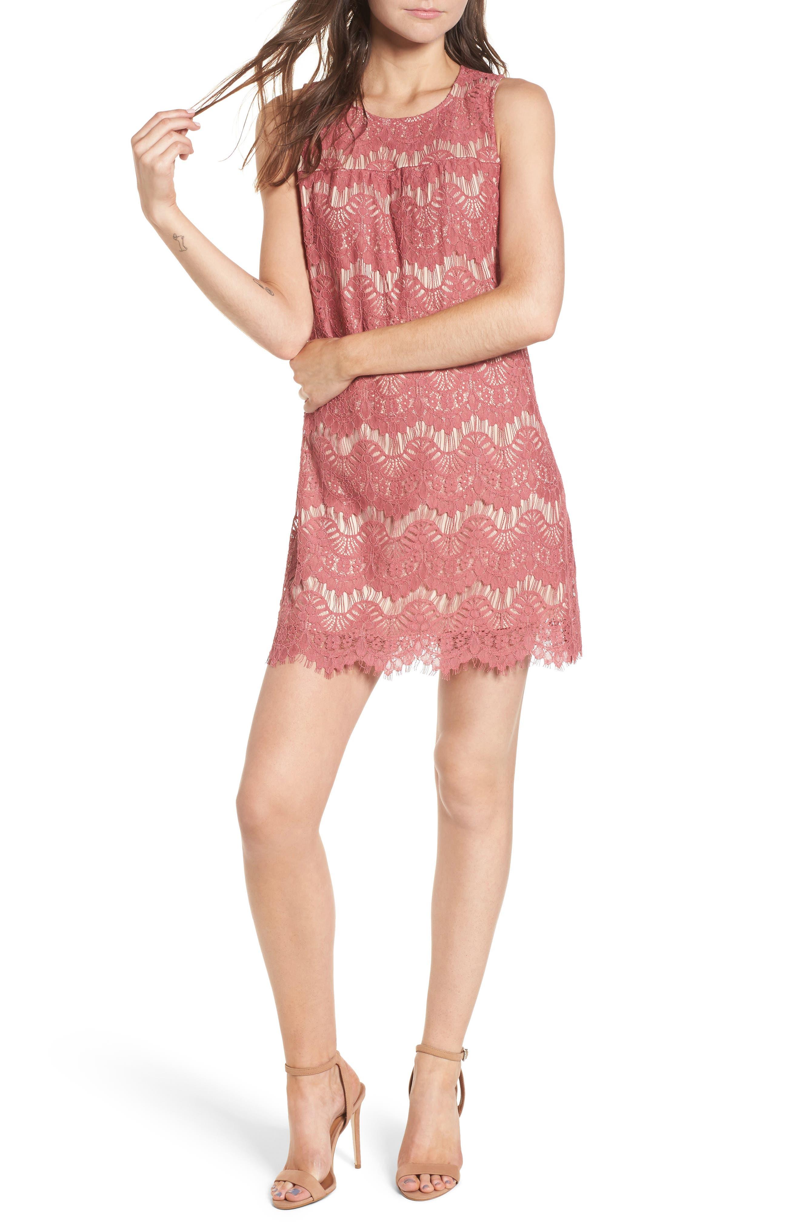 Lace Shift Dress,                             Main thumbnail 1, color,                             Mauve/ Nude