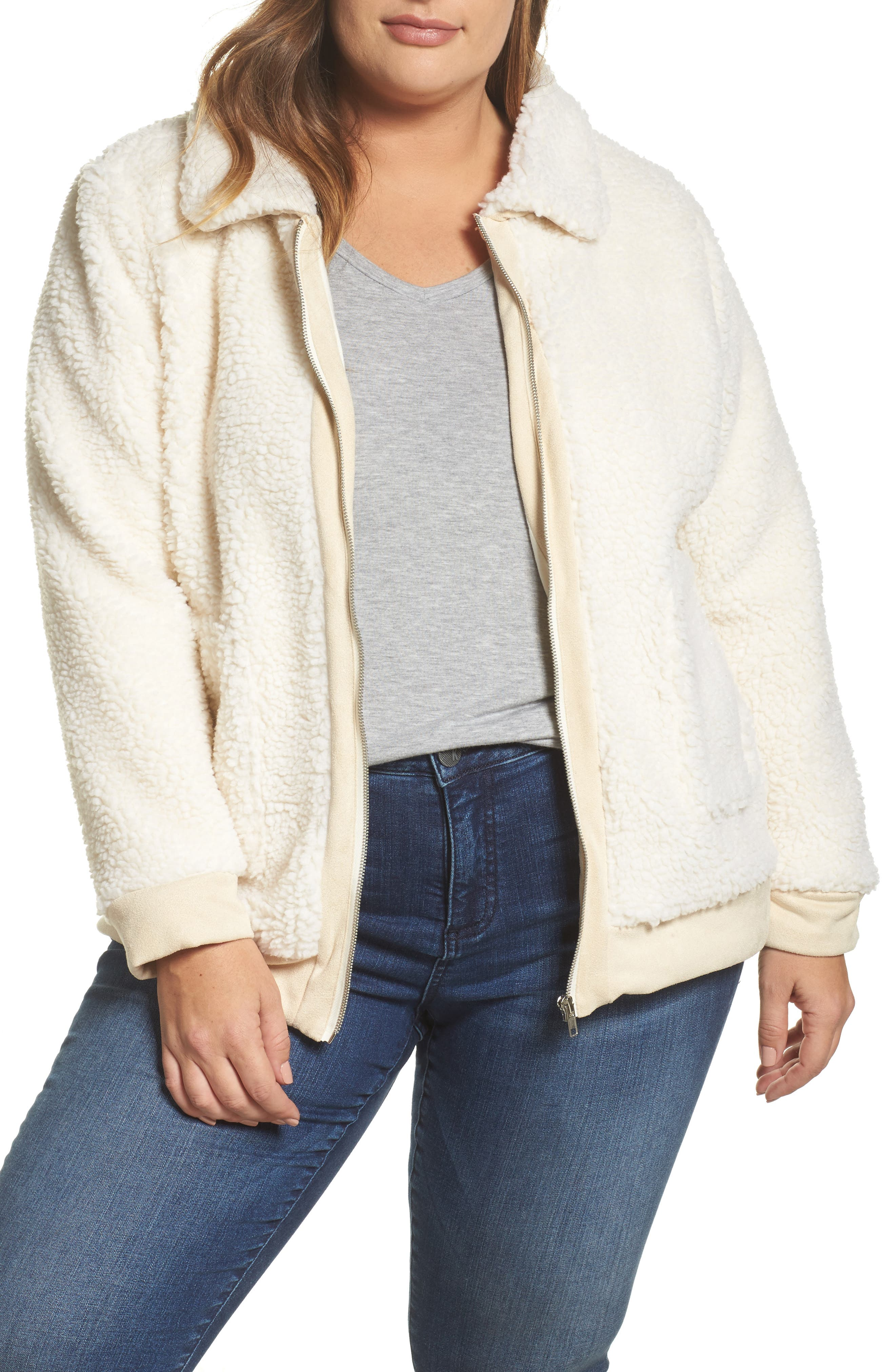 Main Image - Glamorous High Pile Fleece Jacket (Plus Size)
