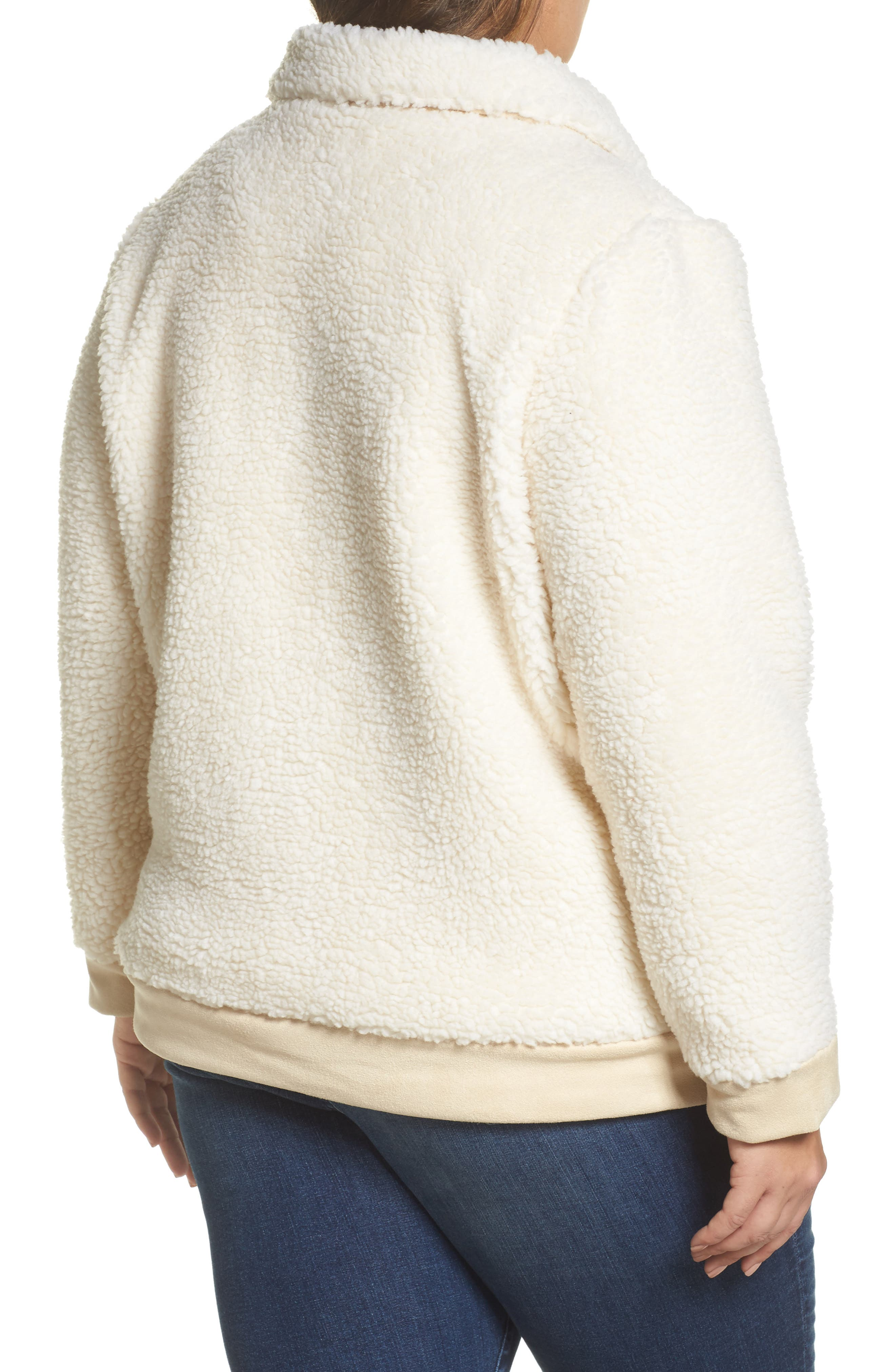 High Pile Fleece Jacket,                             Alternate thumbnail 2, color,                             Cream