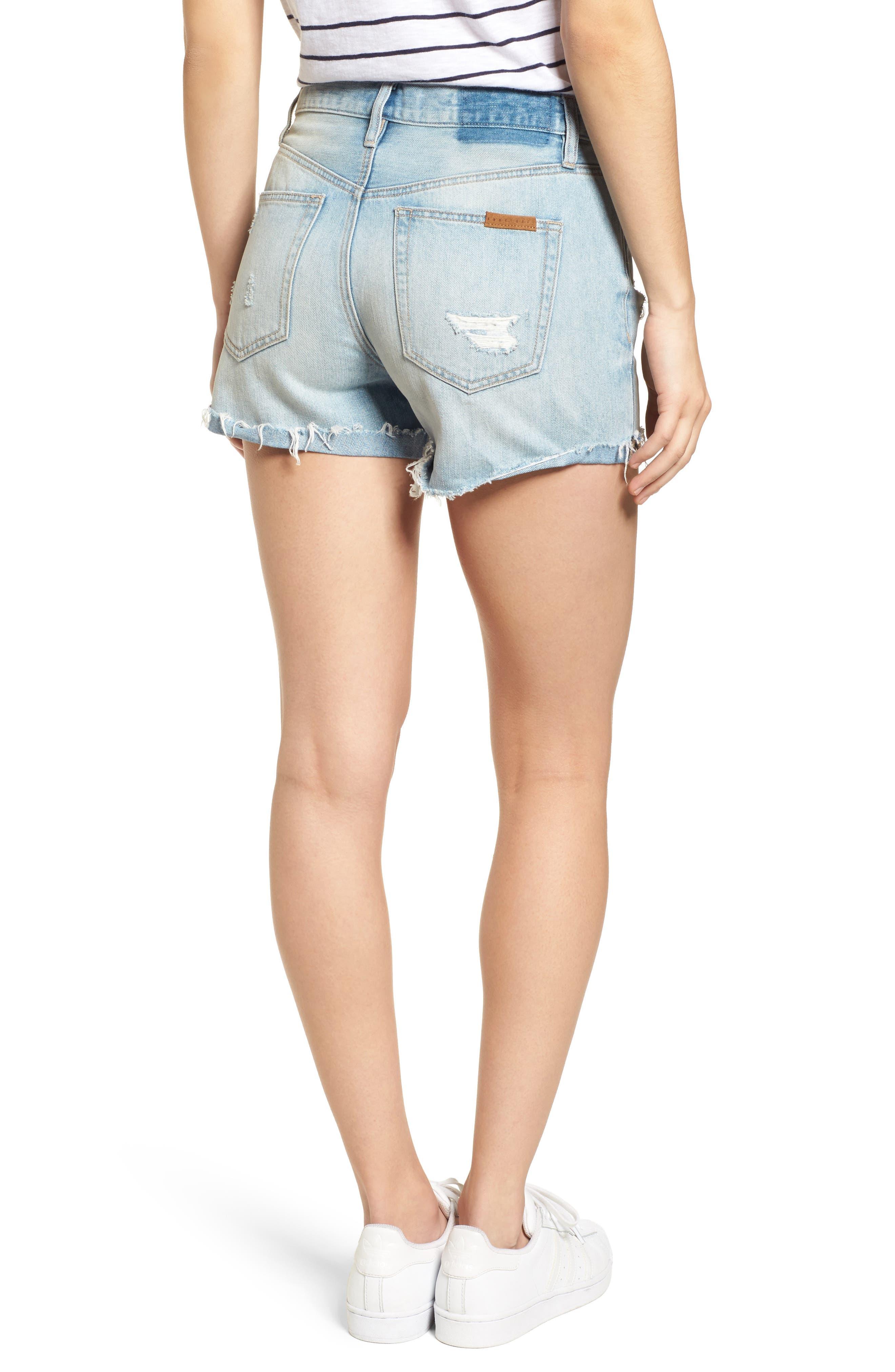 Distressed Fray Hem Rolled Shorts,                             Alternate thumbnail 3, color,                             Olivia Wash