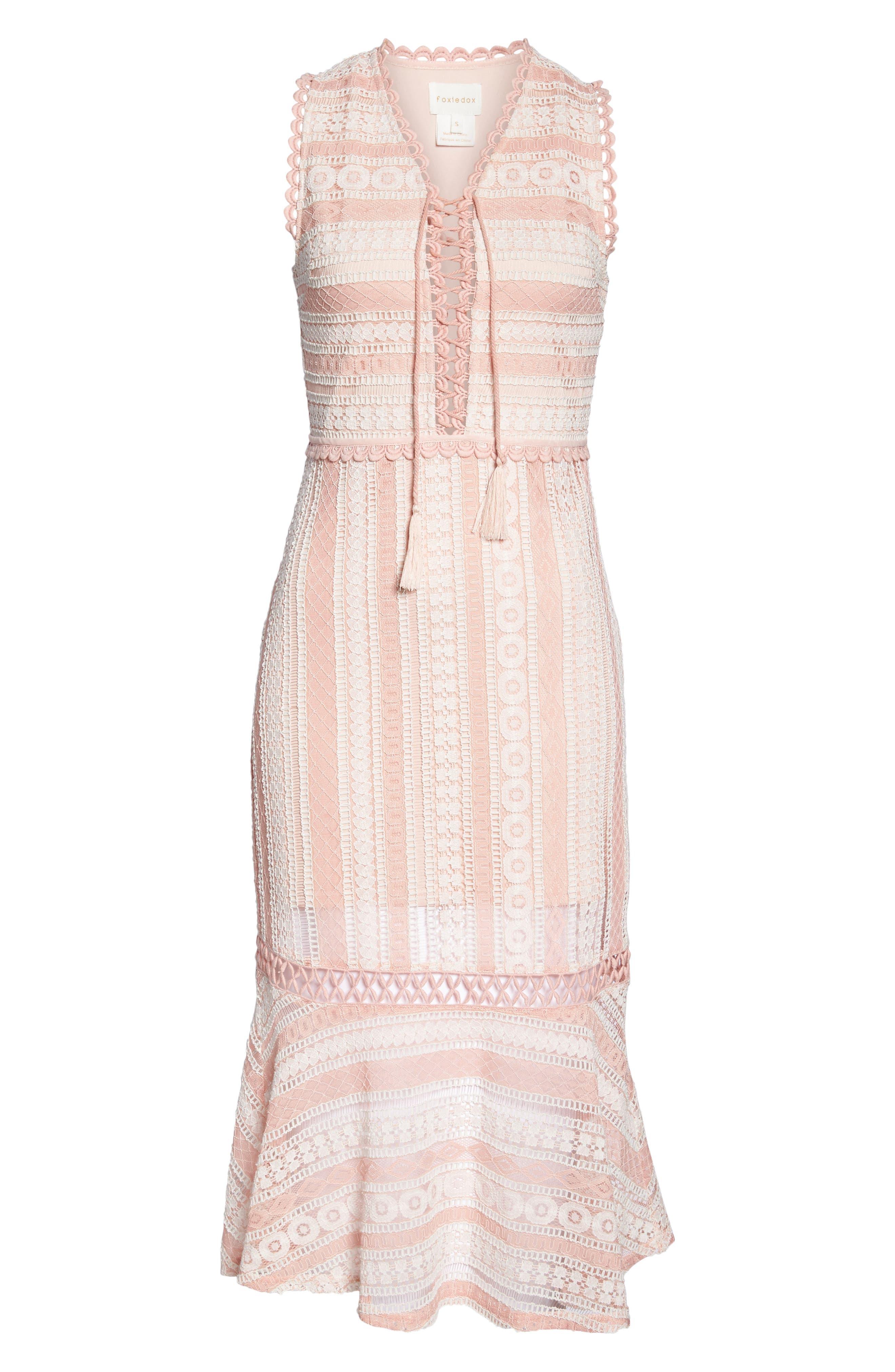 Clarinda Lace Midi Dress,                             Alternate thumbnail 6, color,                             Pink