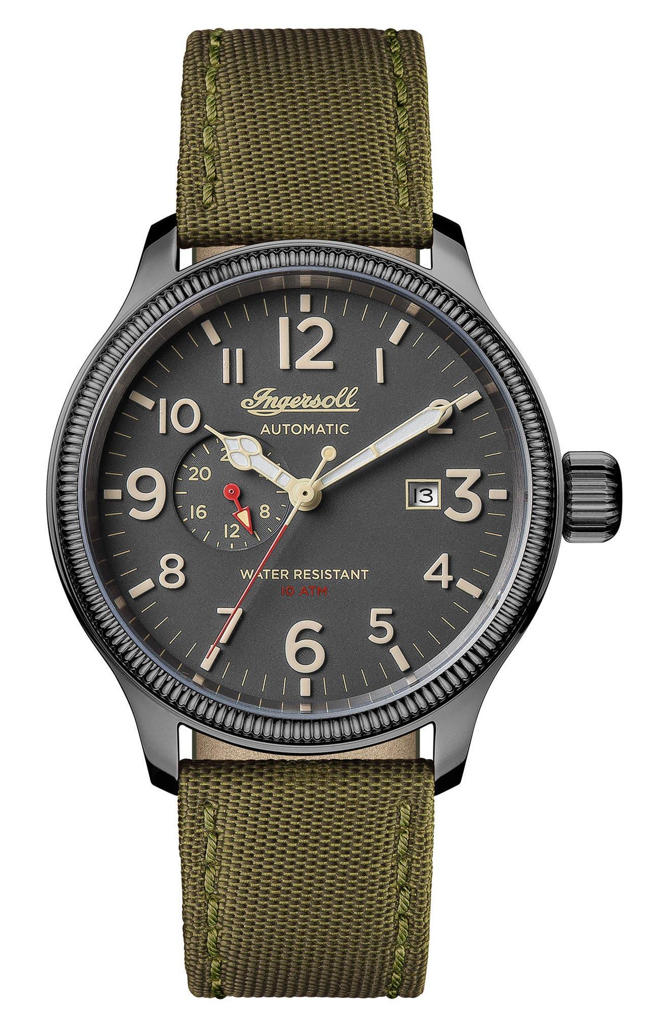 Ingersoll Apsley Automatic Nylon Strap Watch, 45mm,                         Main,                         color, Green/ Grey/ Gunmetal
