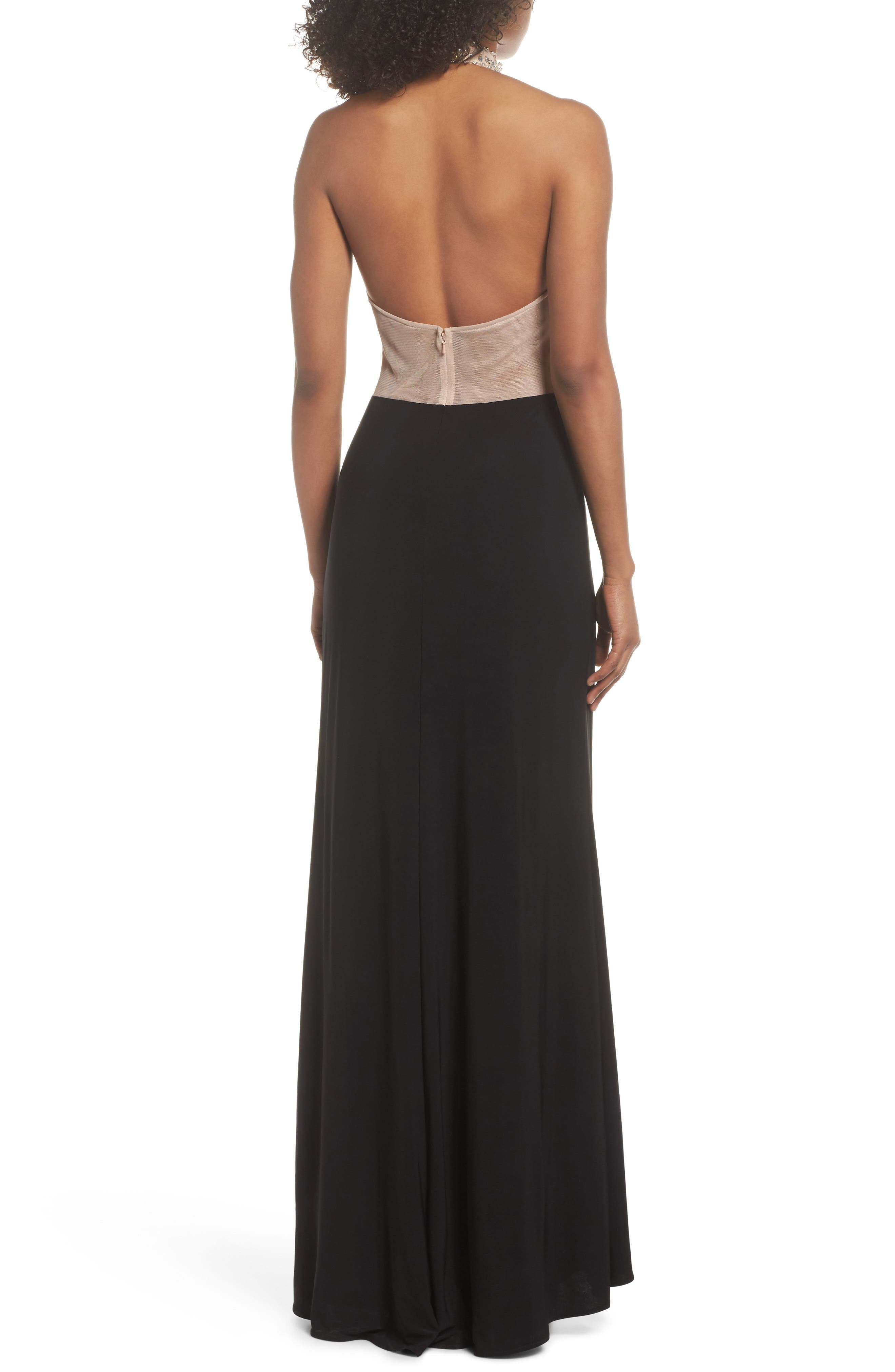 Embellished Bodice Halter Knit Gown,                             Alternate thumbnail 2, color,                             Nude/ Black