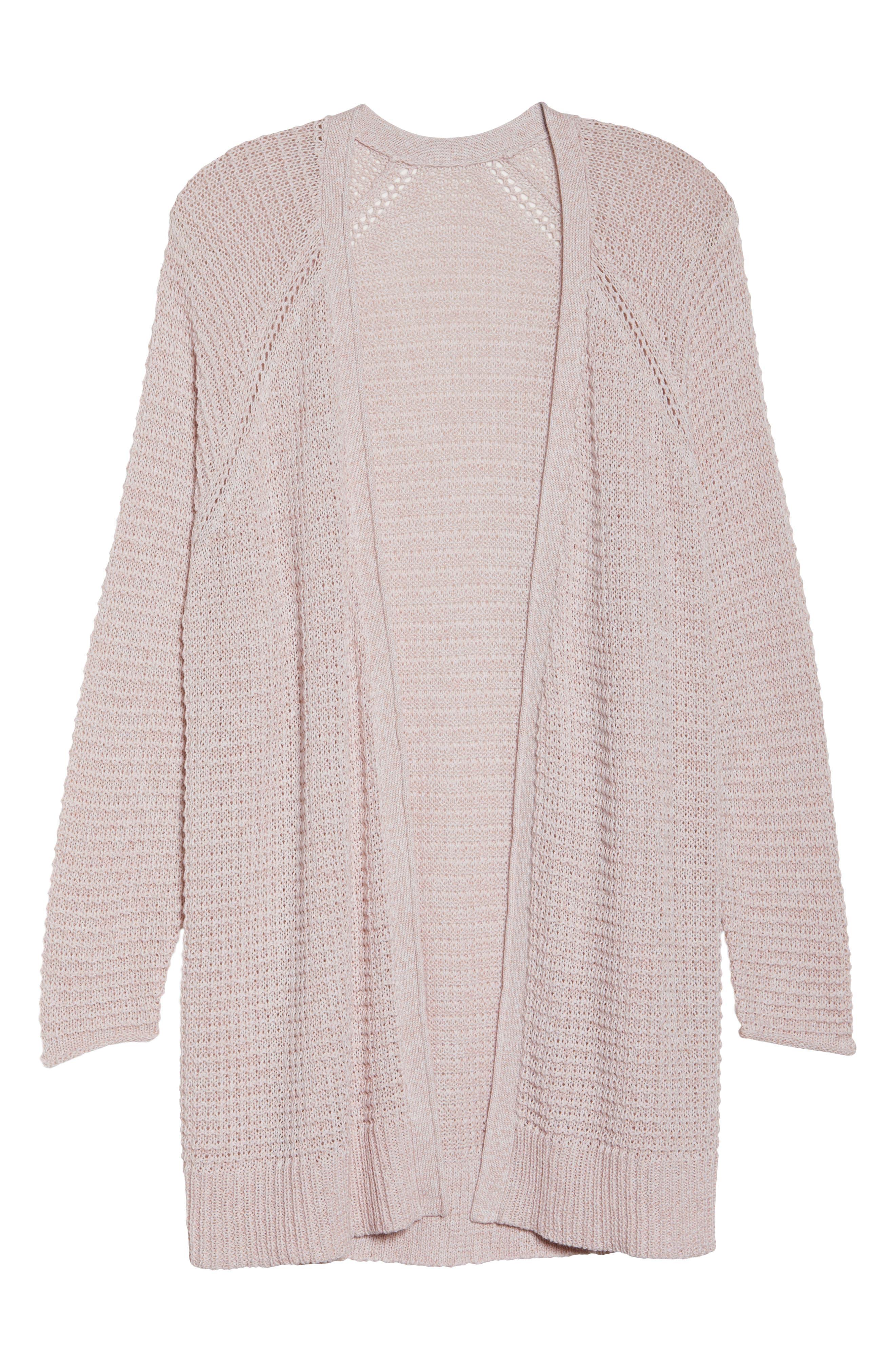 Easy Knit Cardigan,                             Alternate thumbnail 6, color,                             Beige Linen Fern Marl
