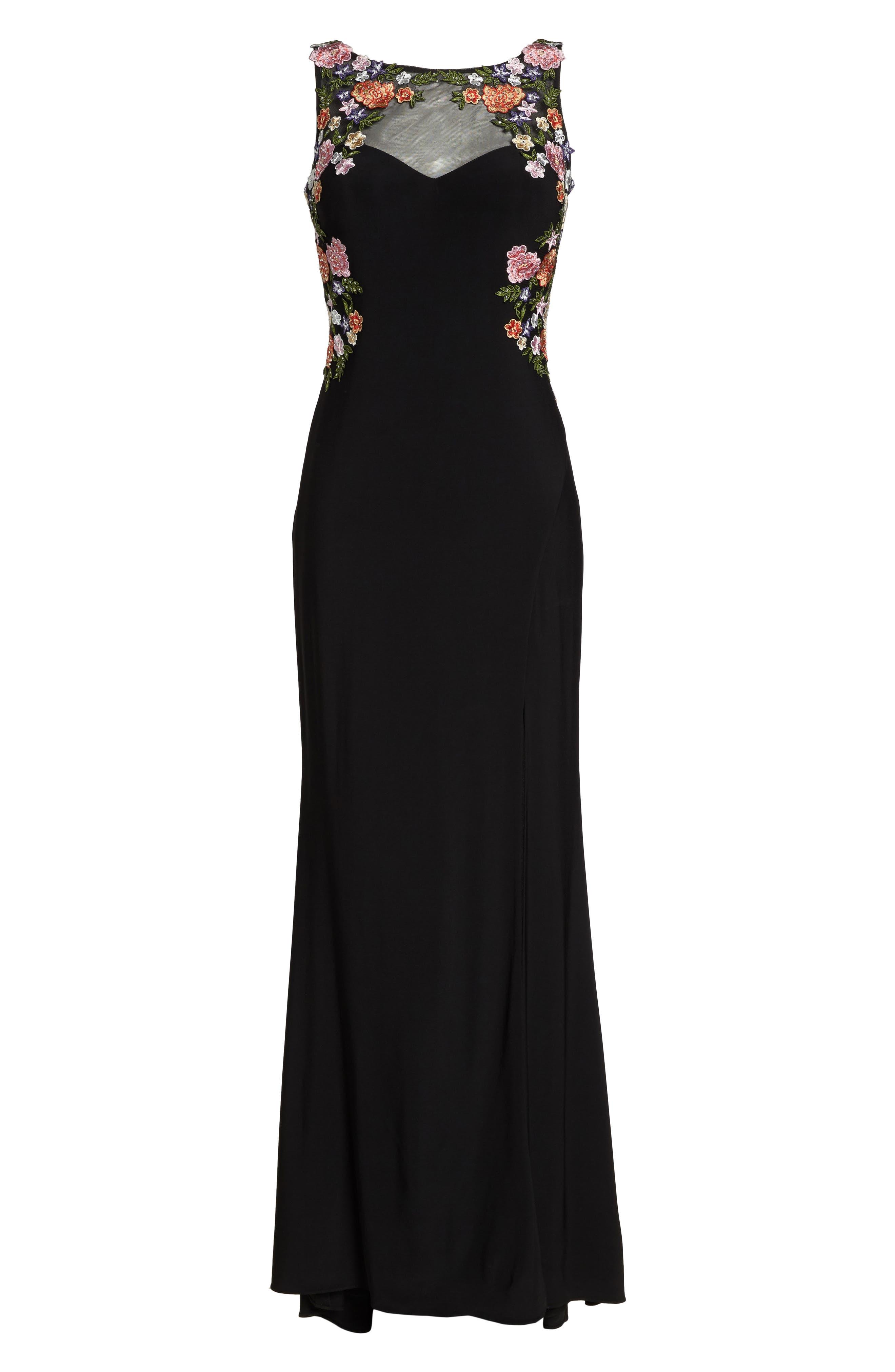 Embellished Sheer Back Knit Gown,                             Alternate thumbnail 6, color,                             Black/ Multi