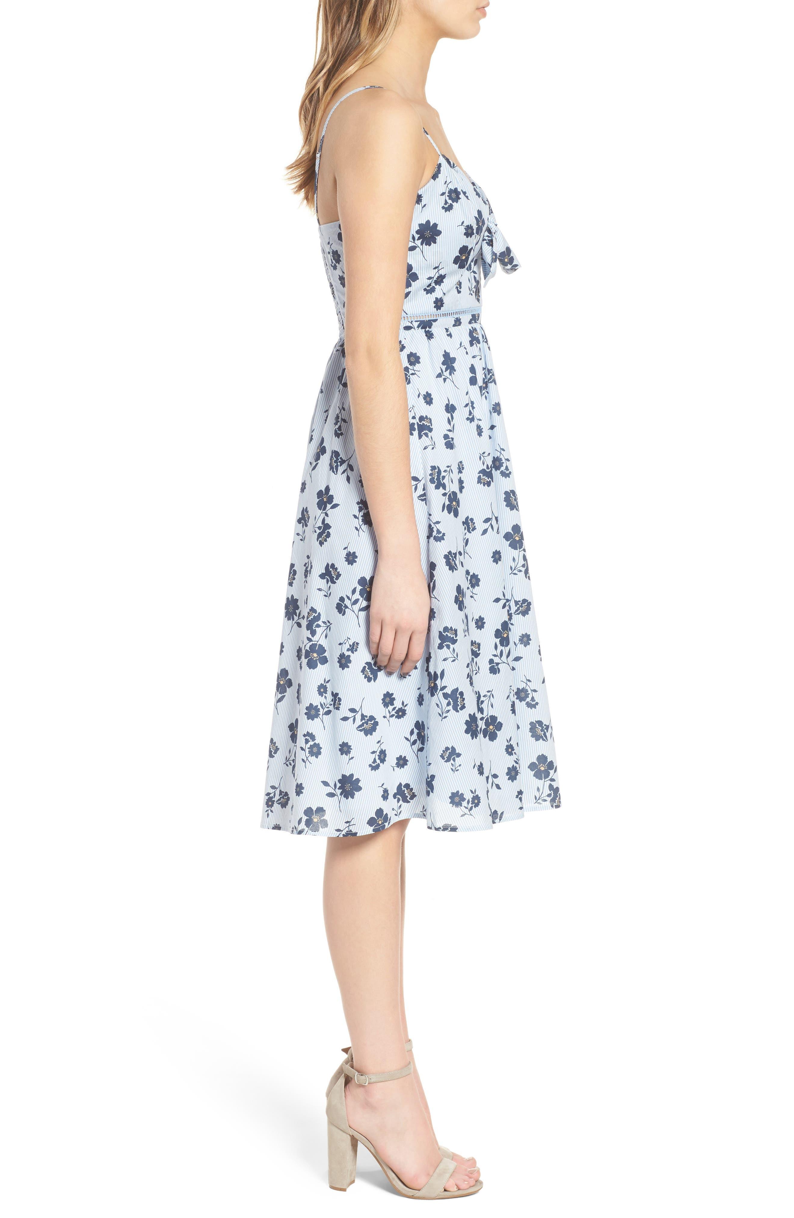 Floral Cotton Fit & Flare Dress,                             Alternate thumbnail 4, color,                             Sky Stripe