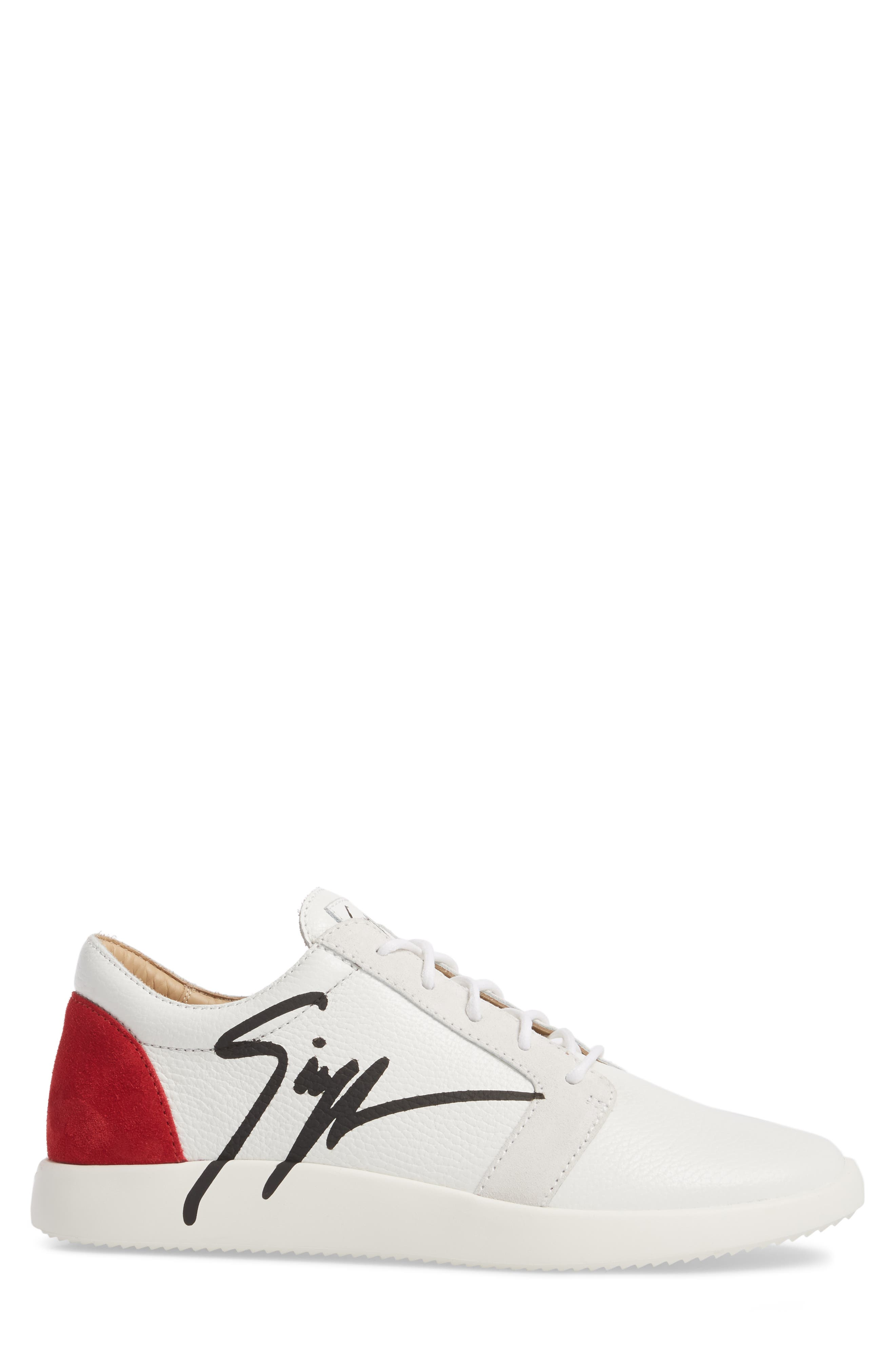 Signature Sneaker,                             Alternate thumbnail 3, color,                             White W/ Red Counter