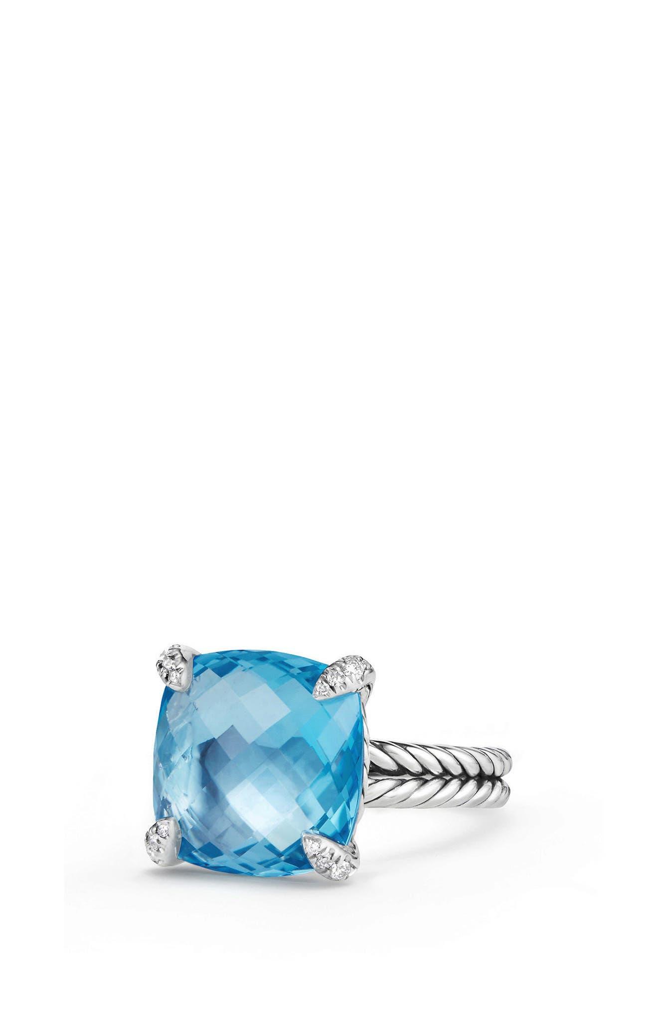 Châtelaine Ring with Semiprecious Stone & Diamonds,                         Main,                         color, Blue Topaz