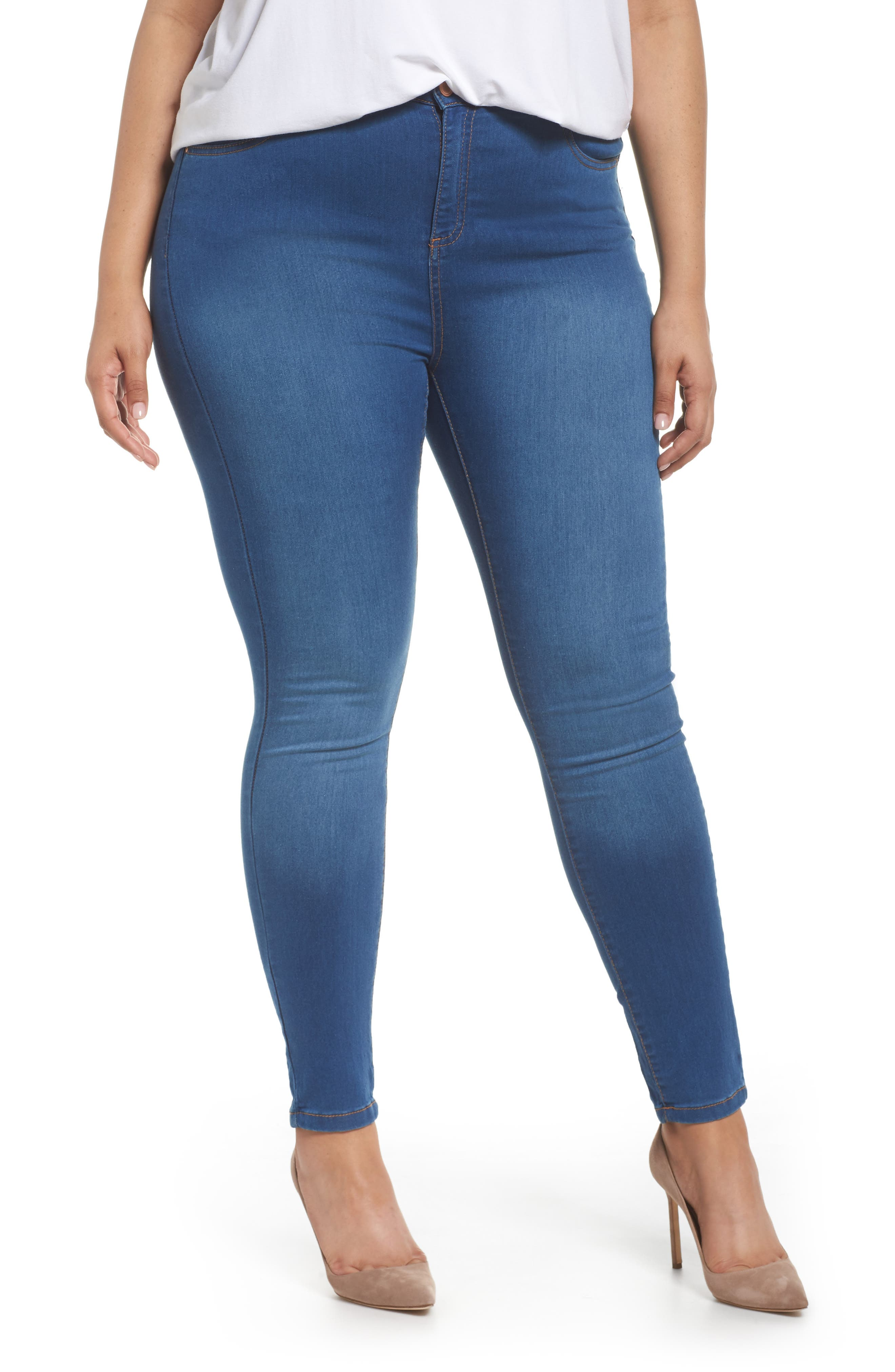 Alternate Image 1 Selected - Evans Skinny Stretch Jeans (Mid Wash) (Plus Size)
