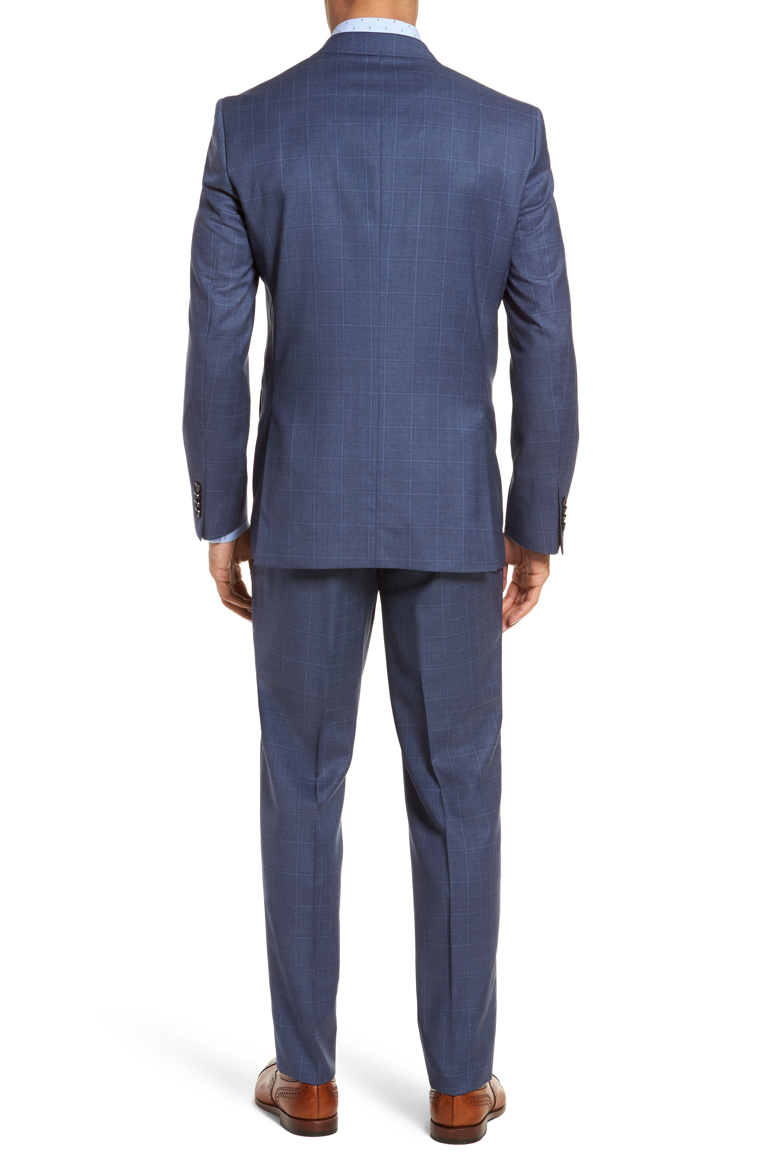 Jay Trim Fit Windowpane Wool Suit,                             Alternate thumbnail 2, color,                             Med Blue