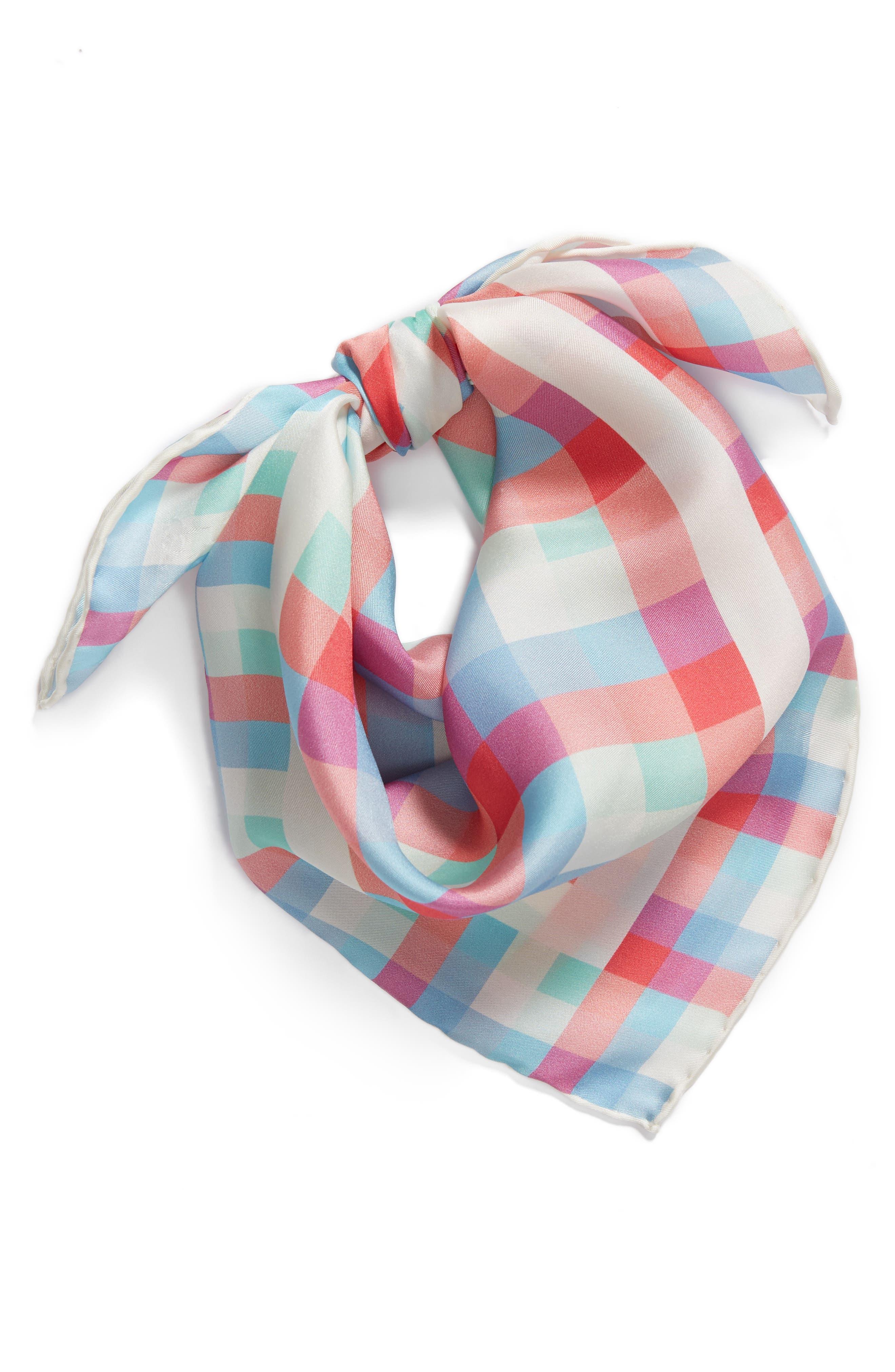 madras plaid silk bandana,                             Alternate thumbnail 3, color,                             Cream