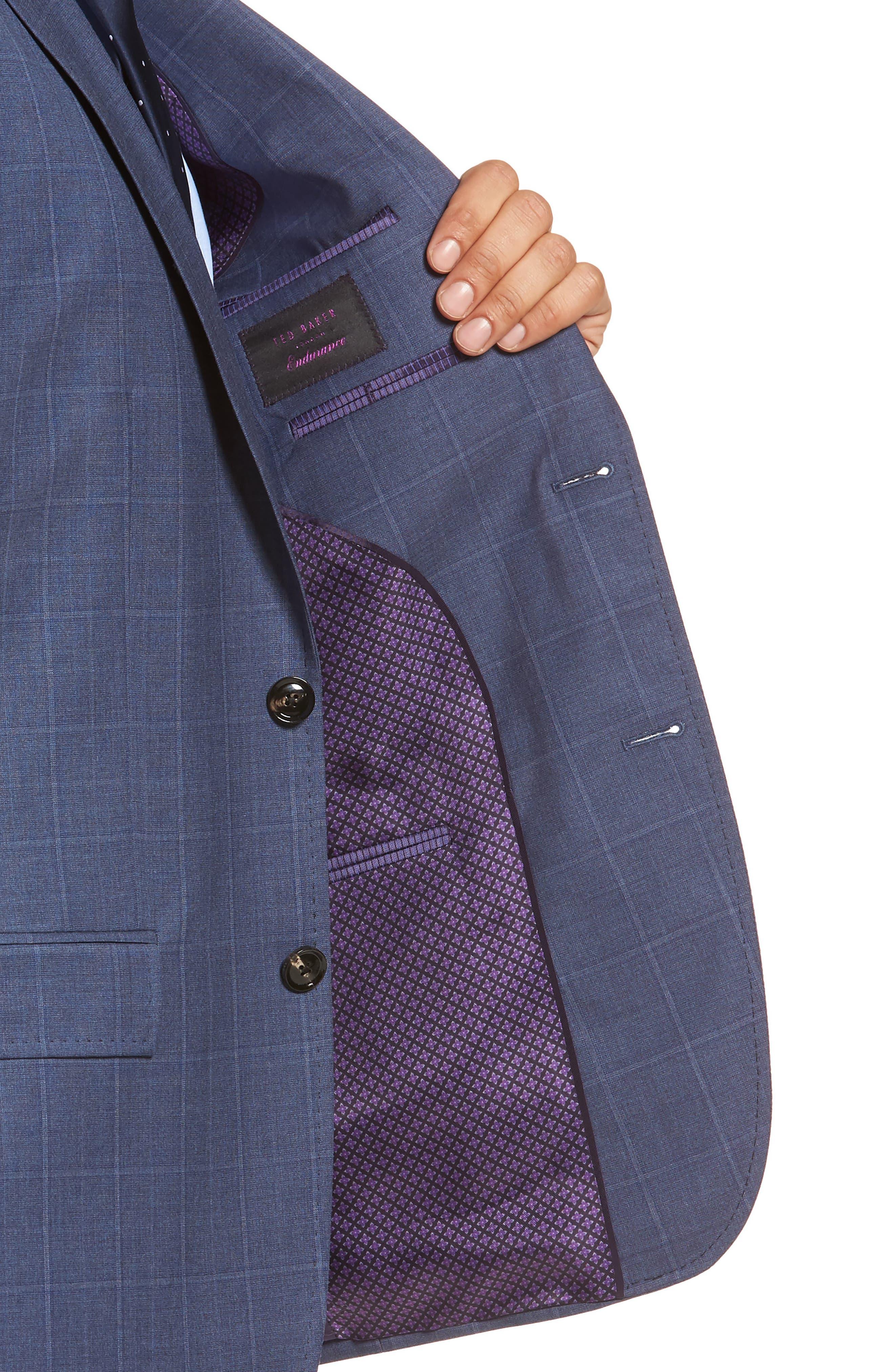 Jay Trim Fit Windowpane Wool Suit,                             Alternate thumbnail 4, color,                             Med Blue