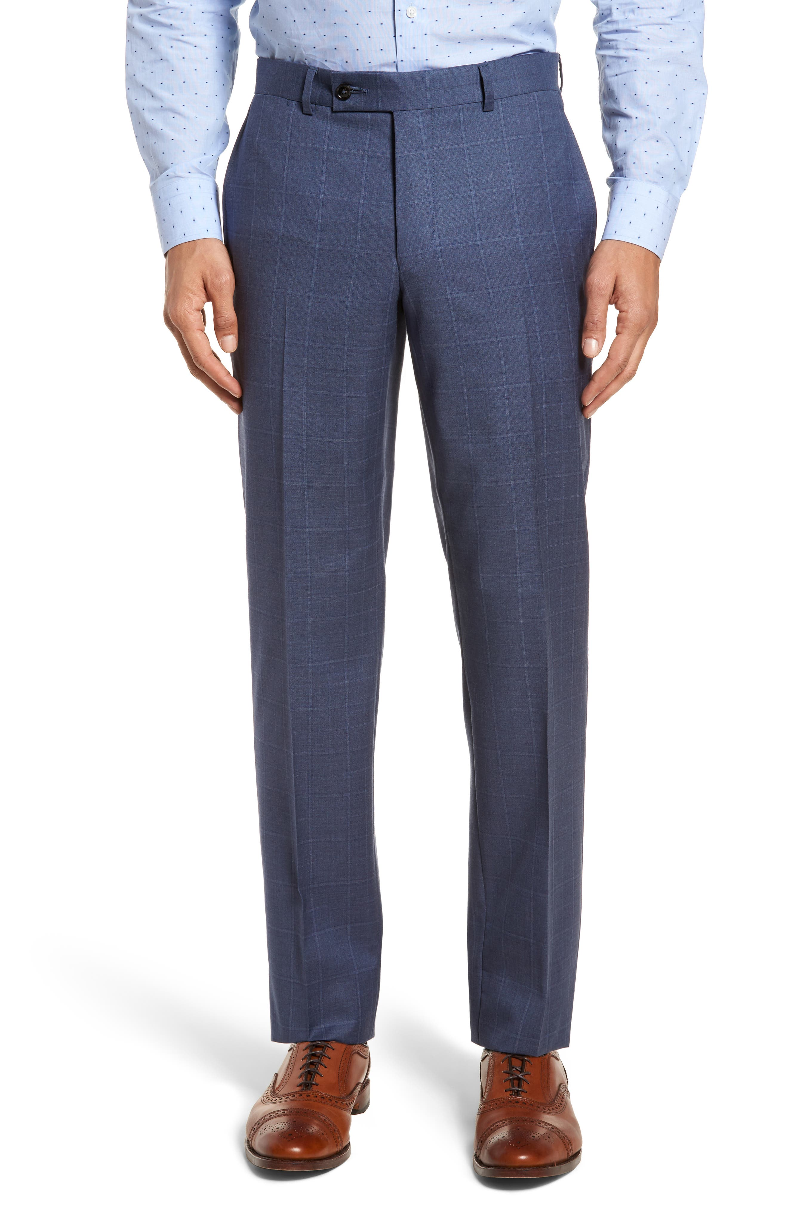 Jay Trim Fit Windowpane Wool Suit,                             Alternate thumbnail 6, color,                             Med Blue