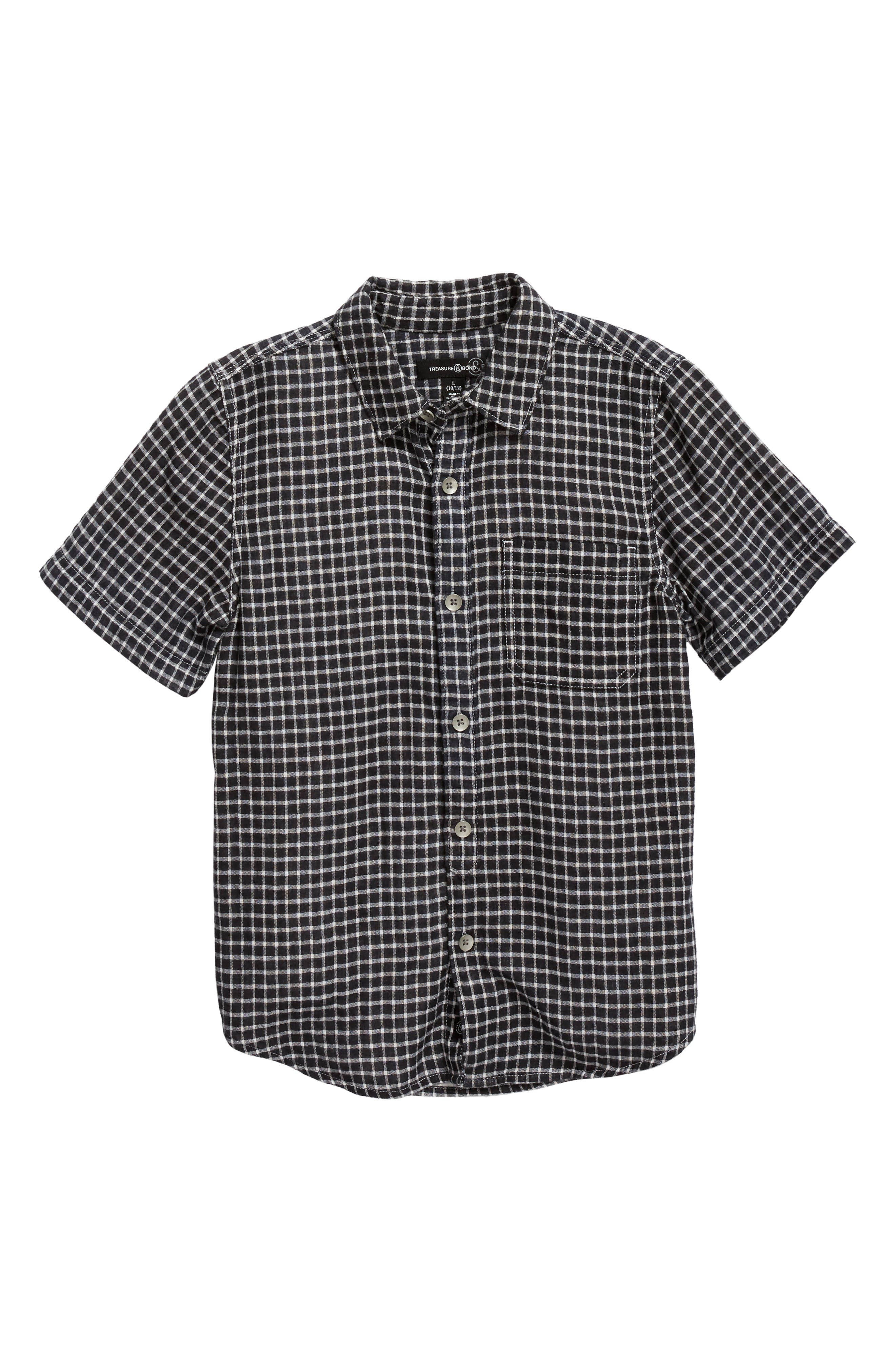 Check Pattern Woven Shirt,                         Main,                         color, Black- Ivory Check