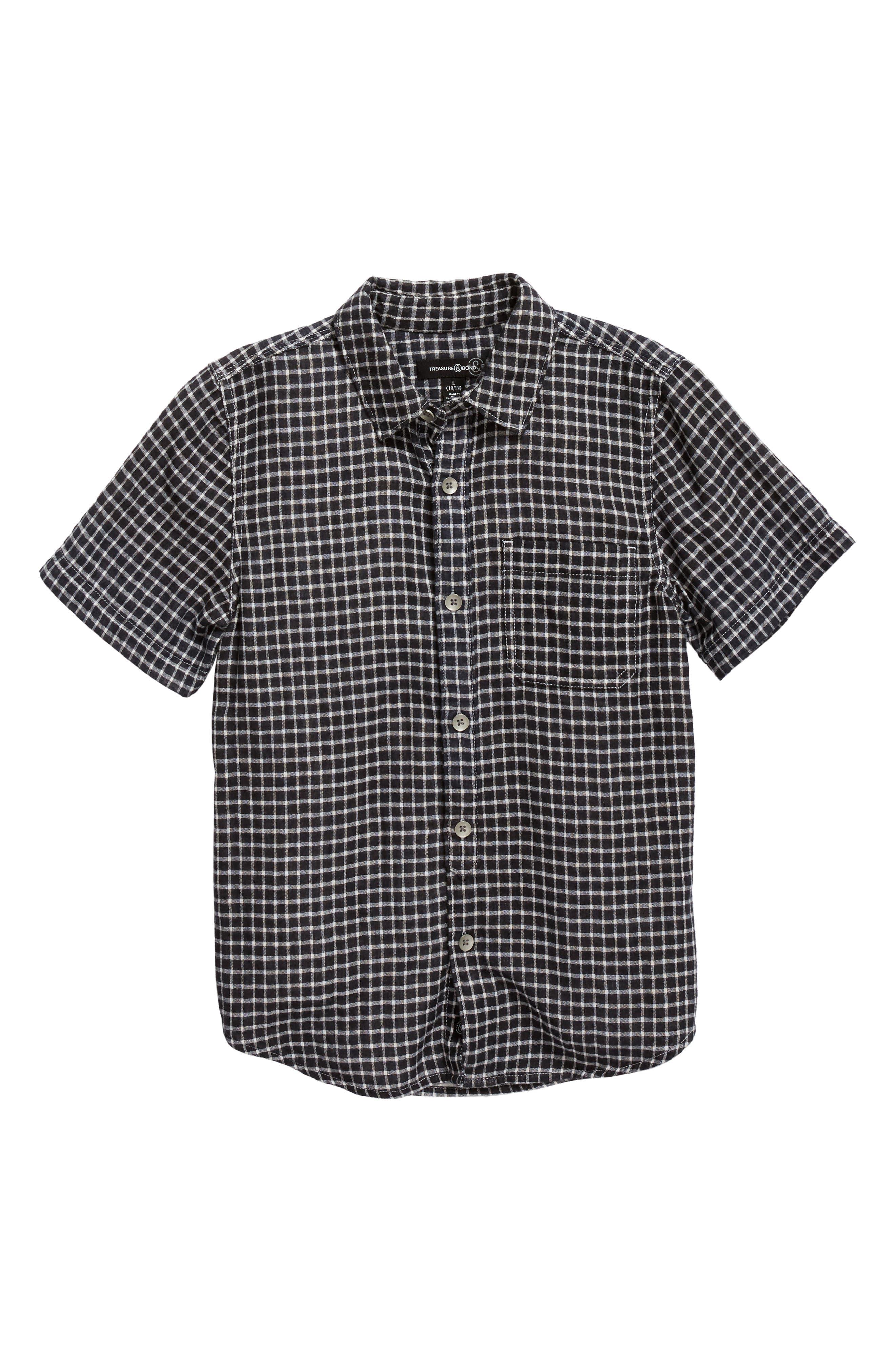 Check Pattern Woven Shirt,                         Main,                         color, Black- Ivory Check