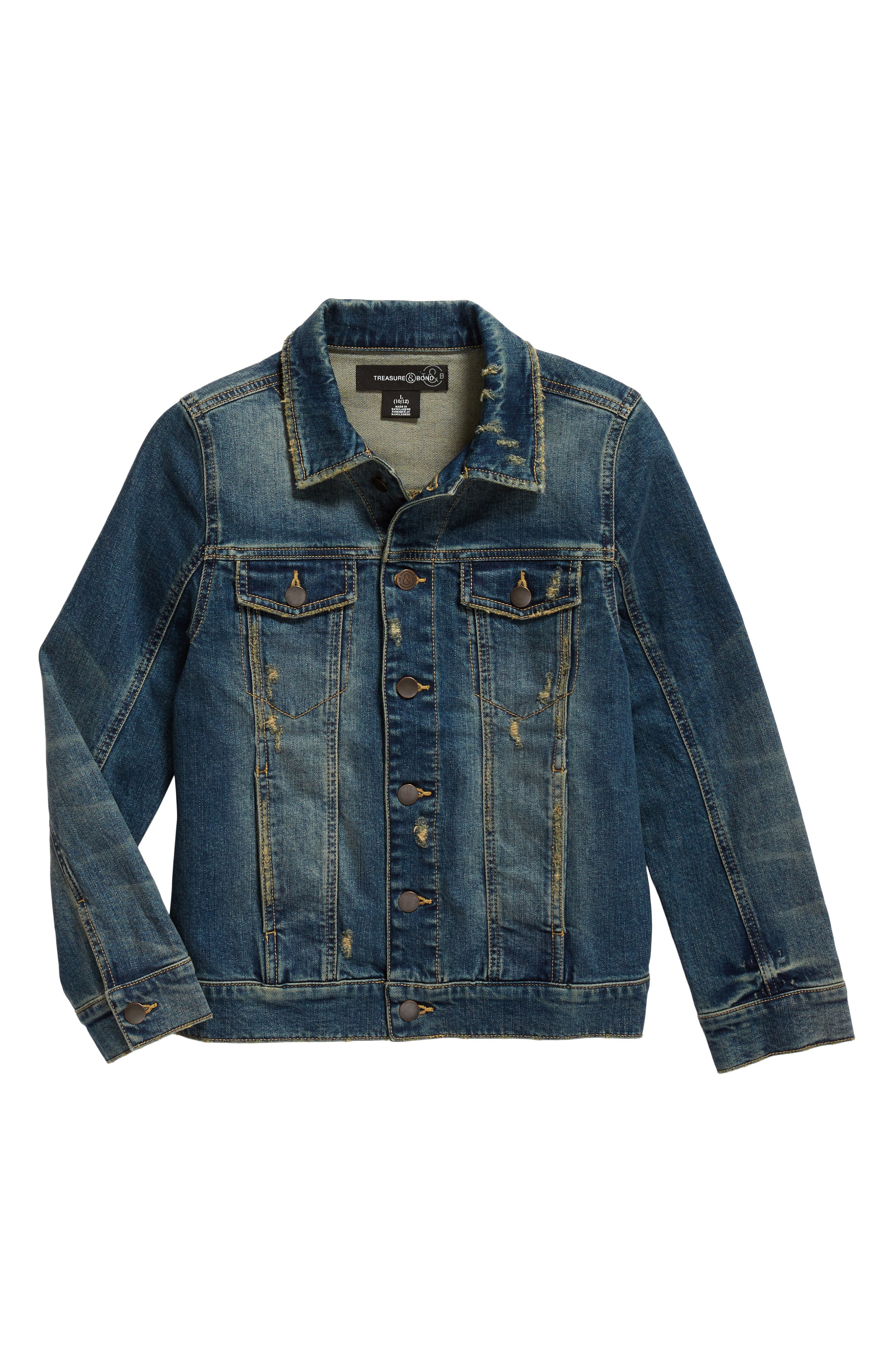 Distressed Denim Jacket,                         Main,                         color, Lott Wash