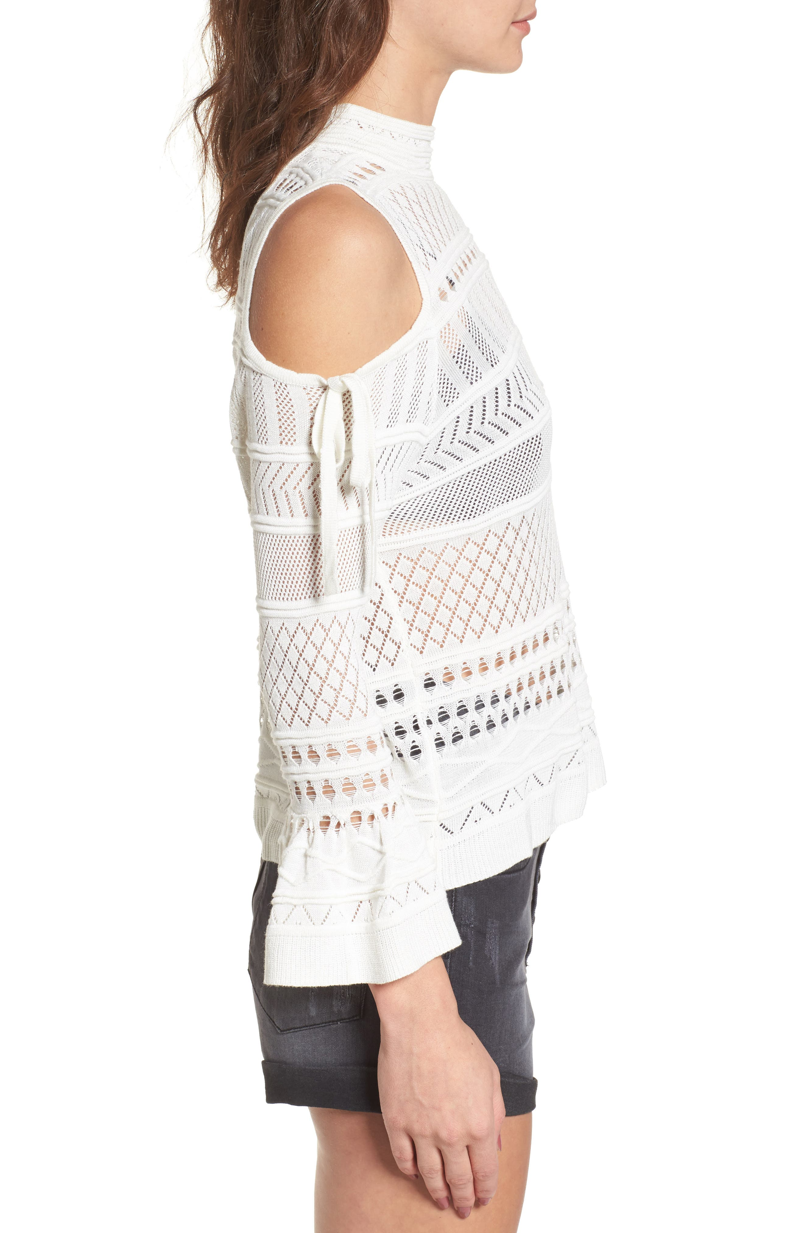 Annabel Cold Shoulder Pointelle Sweater,                             Alternate thumbnail 4, color,                             Ivory