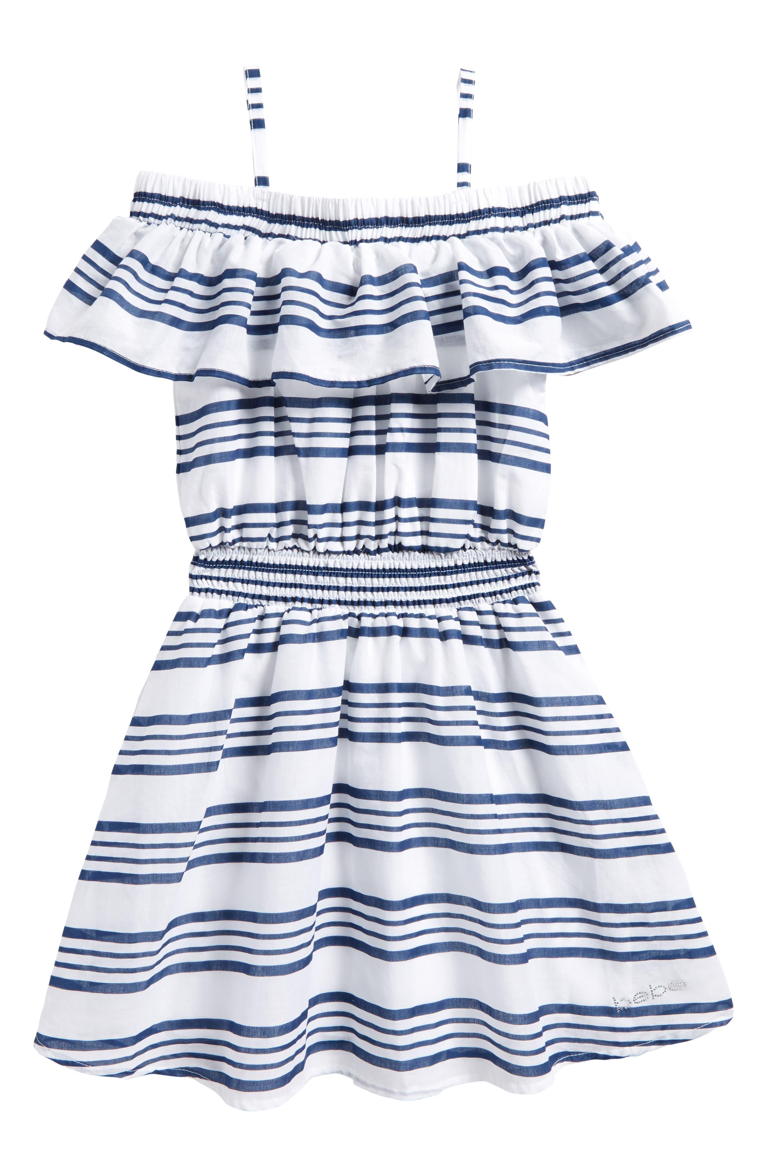 Main Image - bebe Off the Shoulder Stripe Dress (Big Girls)