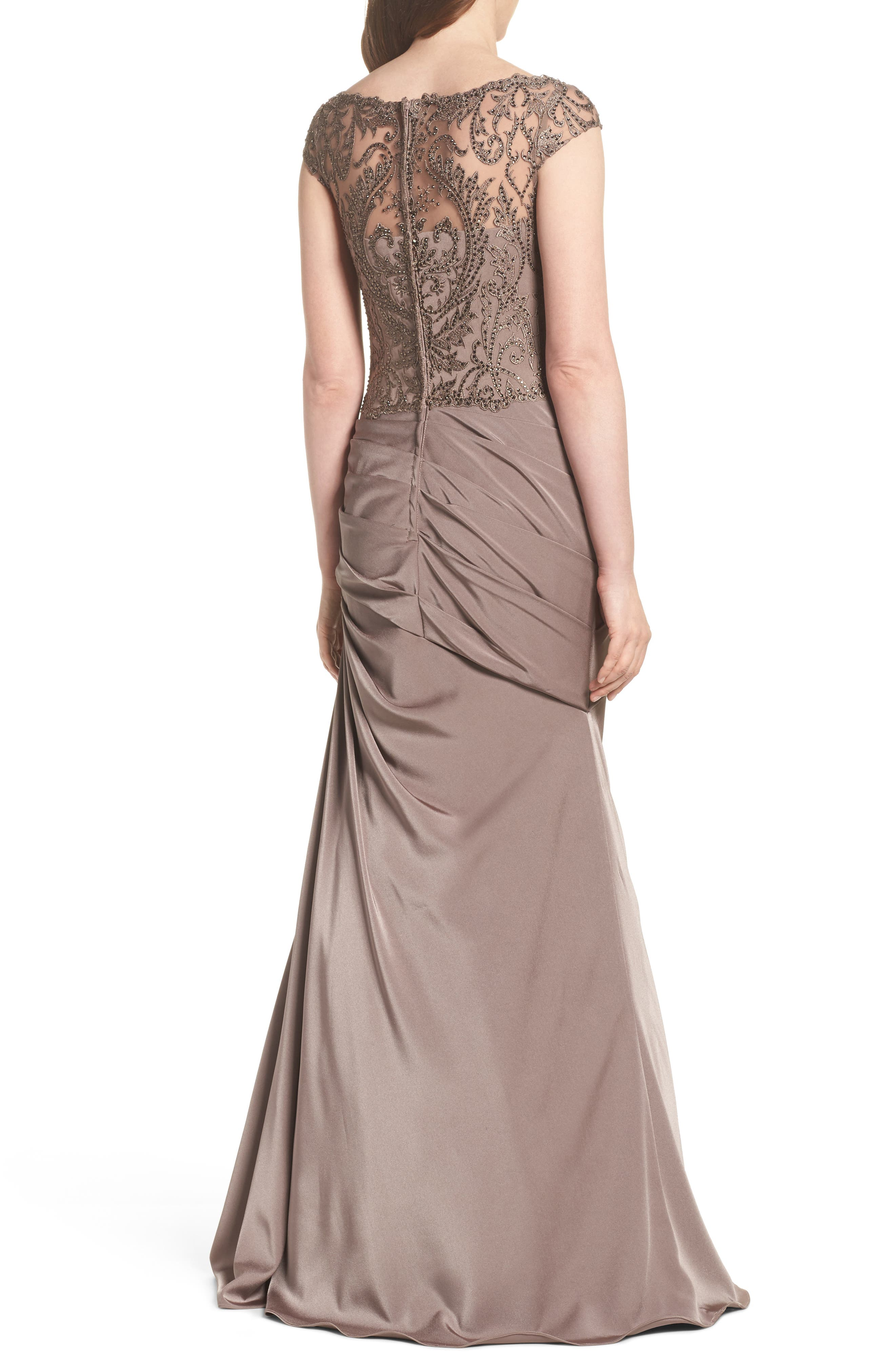Beaded Lace Ruched Gown,                             Alternate thumbnail 2, color,                             Cocoa