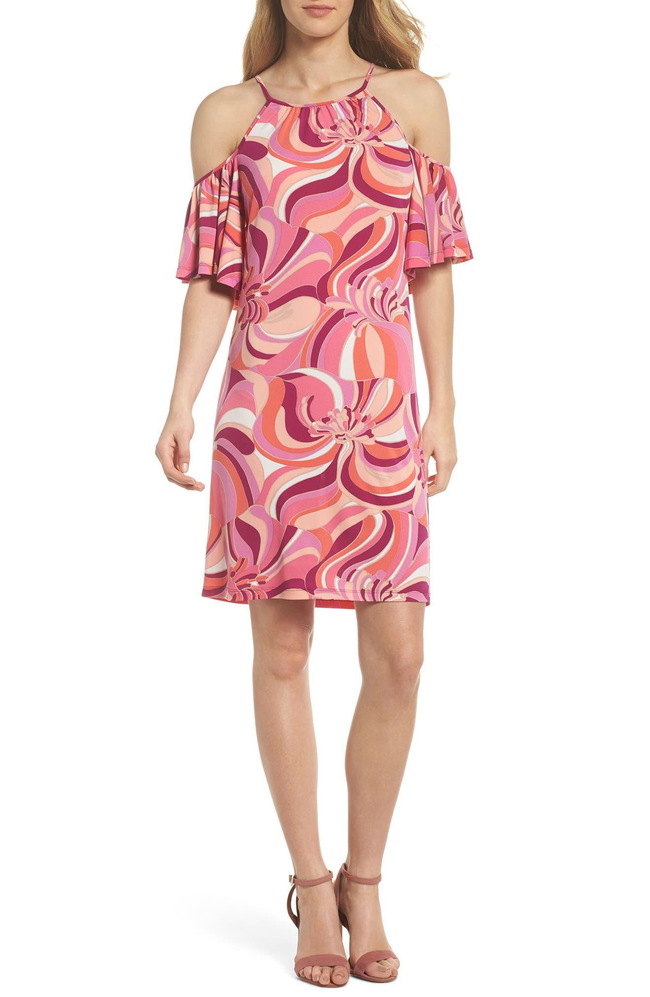 Viola Cold Shoulder Dress,                             Main thumbnail 1, color,                             Purple Dahlia
