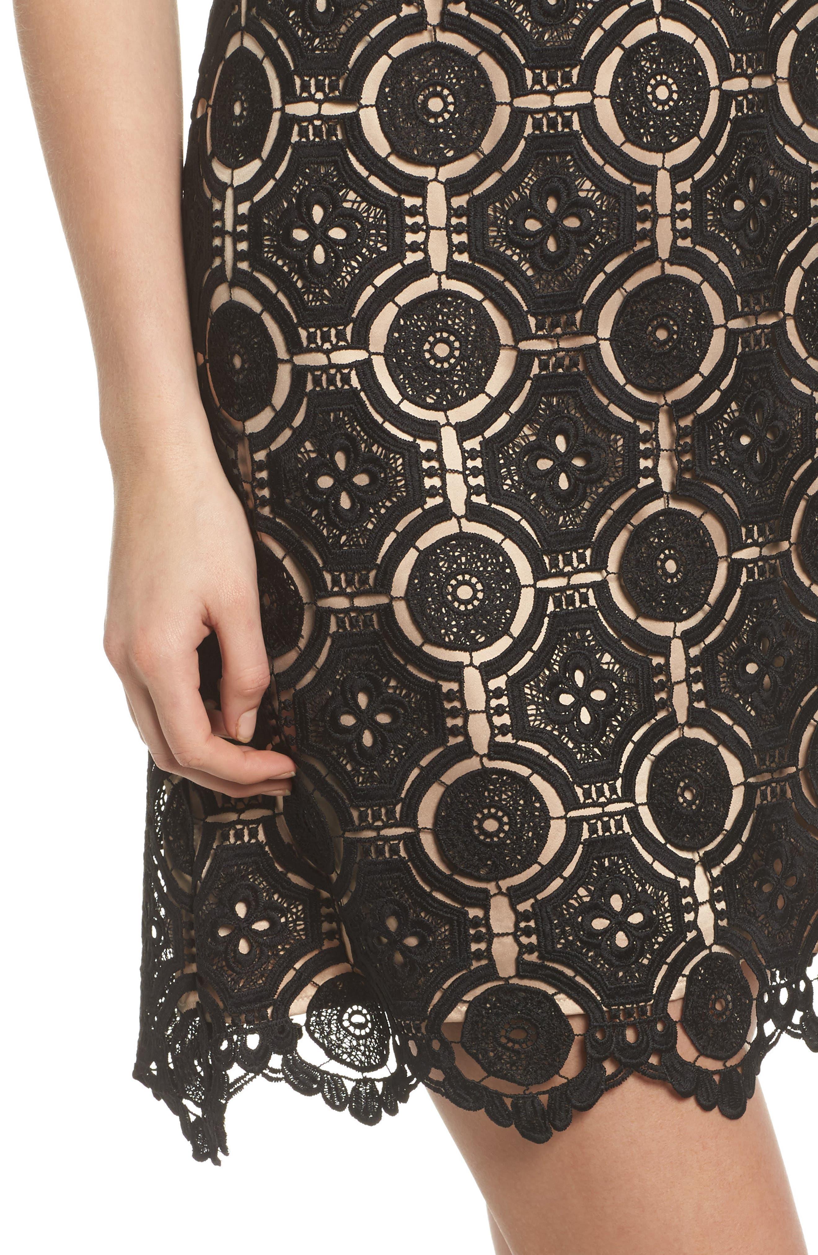 Lace Shift Dress,                             Alternate thumbnail 4, color,                             Black