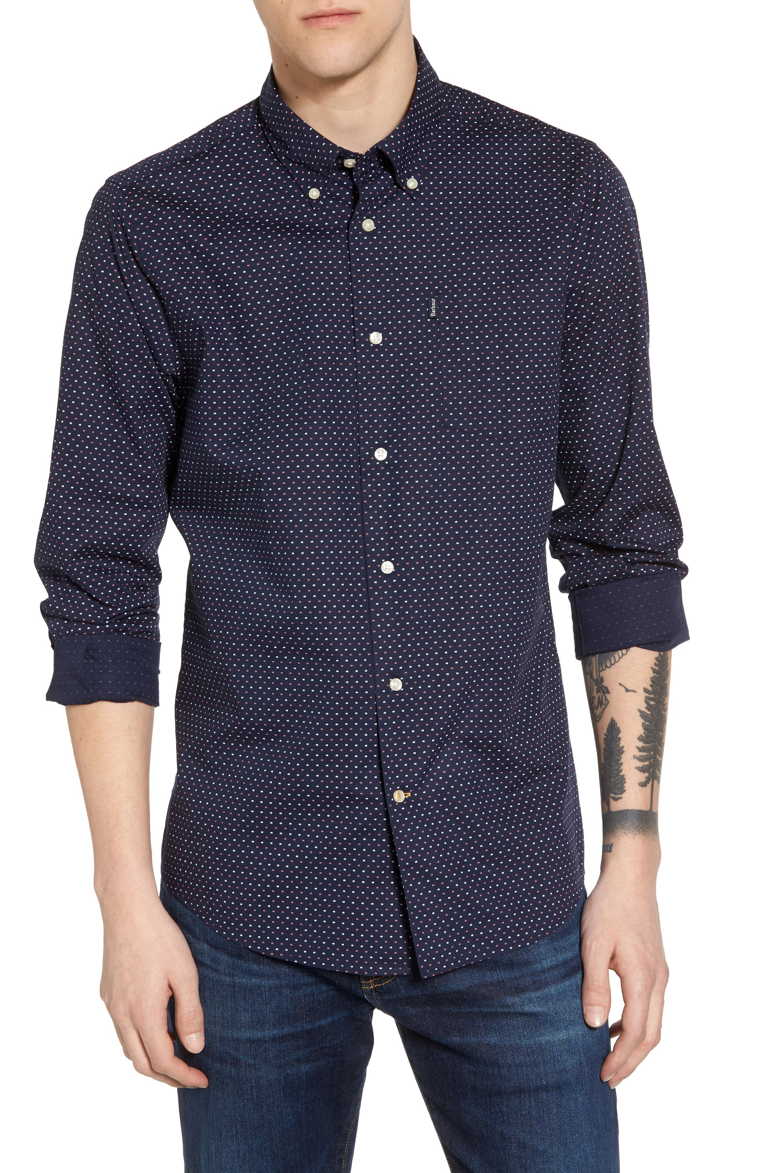 Cullen Trim Fit Print Sport Shirt,                         Main,                         color, Navy