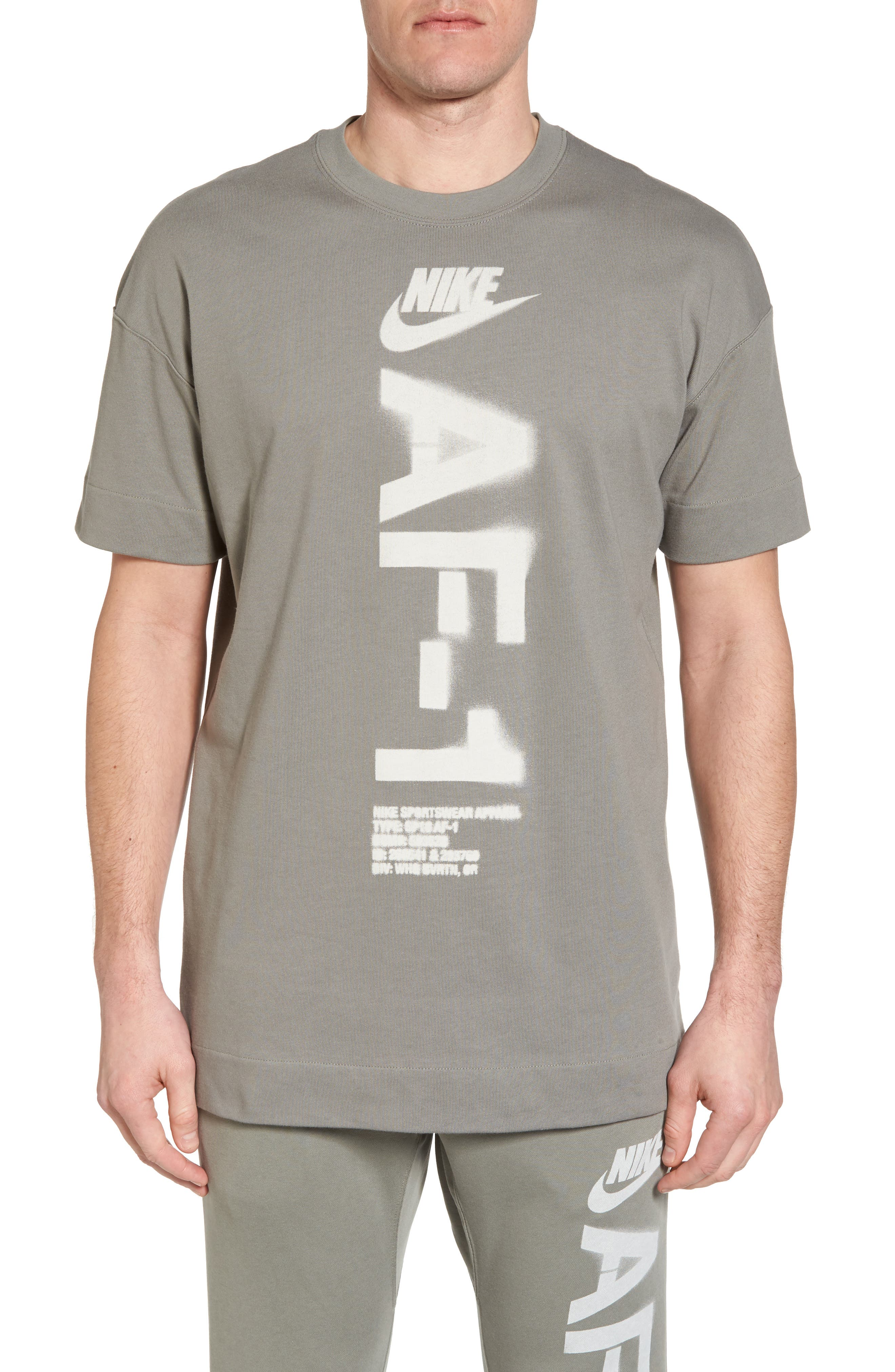NSW Heavyweight AF-1 T-Shirt,                             Main thumbnail 1, color,                             Neutral Olive/ Medium Olive
