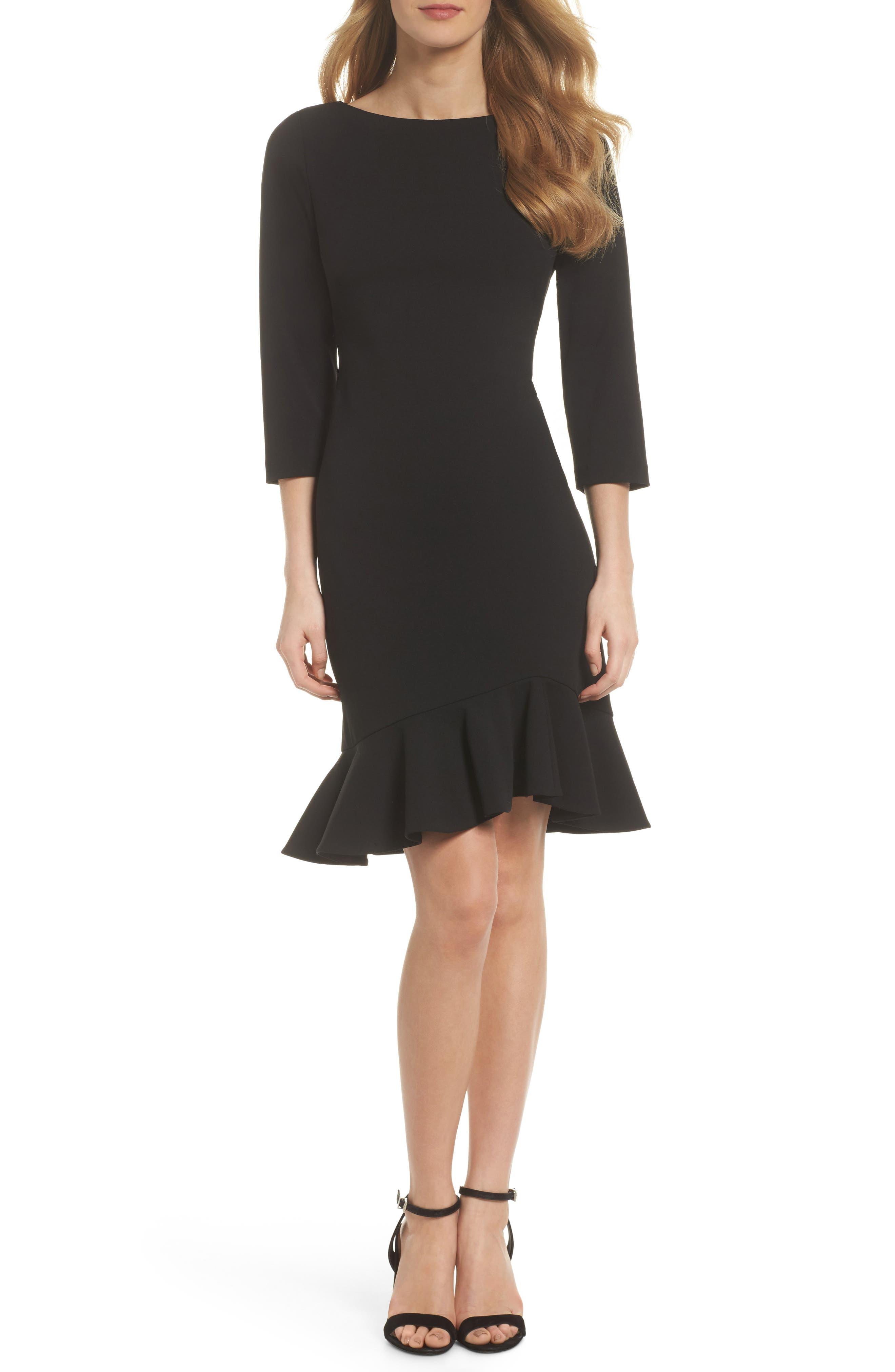 Crepe Ruffle Hem Body-Con Dress,                             Main thumbnail 1, color,                             Black