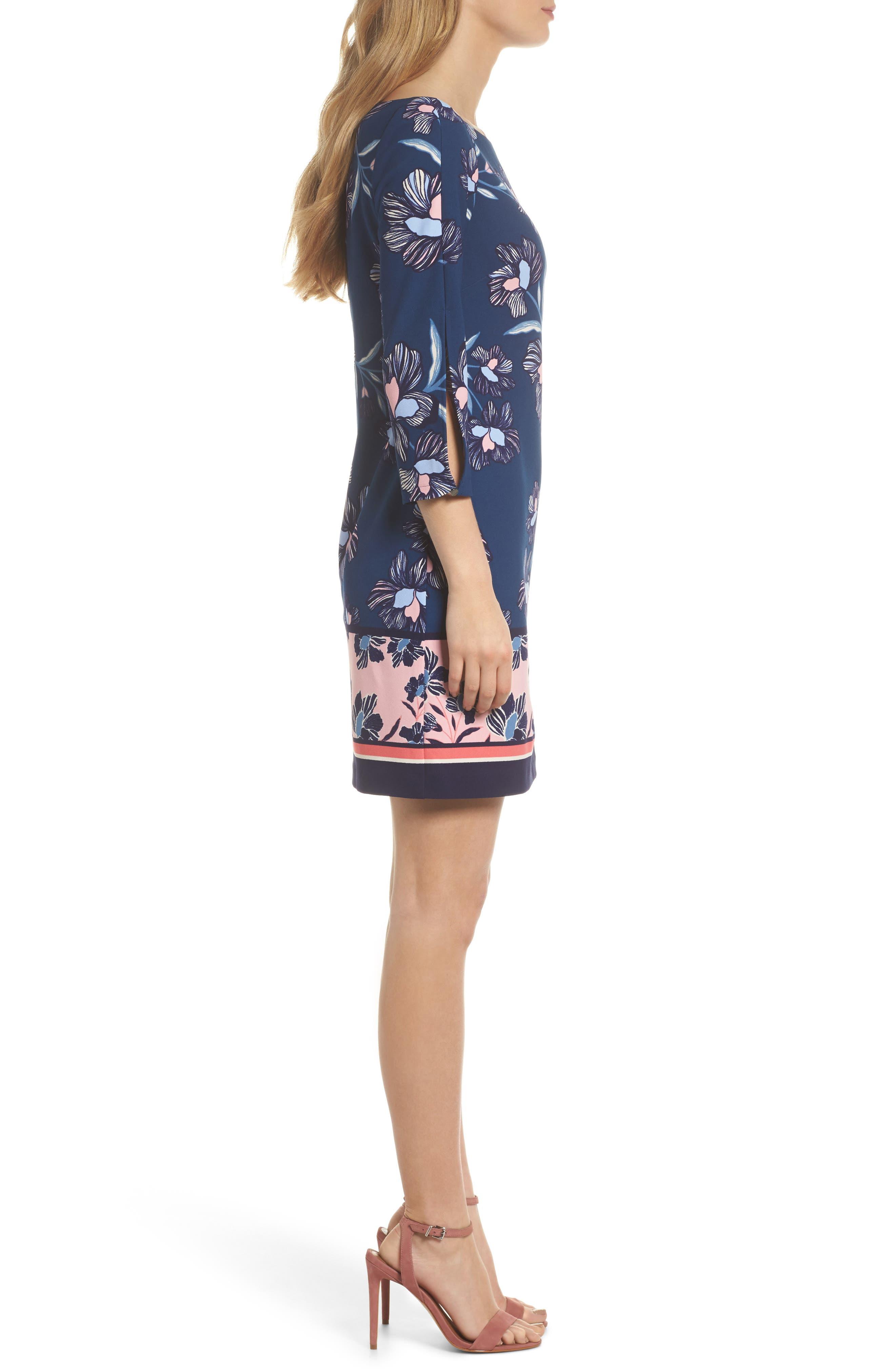 Floral Print Crepe Shift Dress,                             Alternate thumbnail 3, color,                             Navy Multi