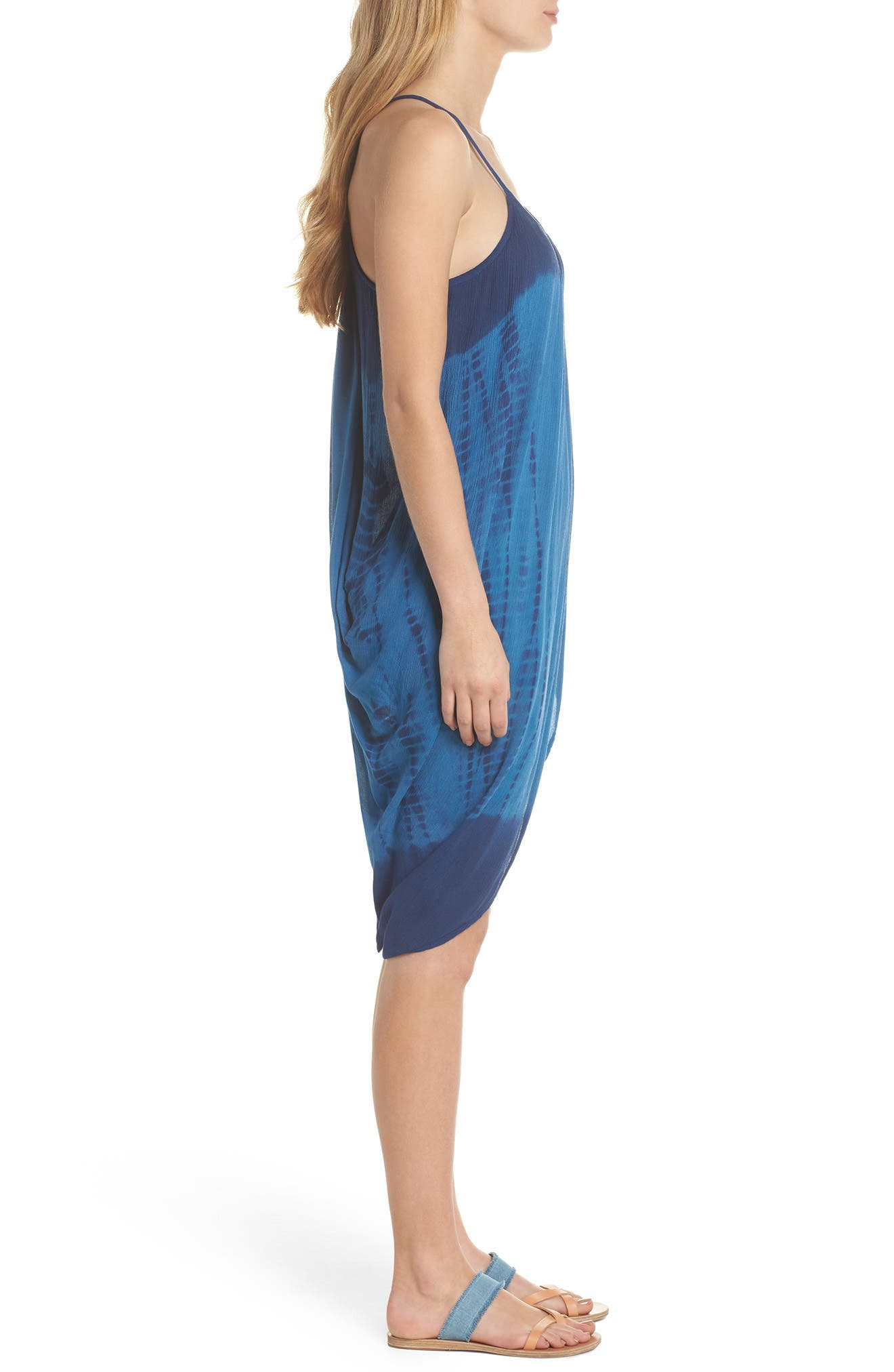 High Tide Pali Wrap Cover-Up Dress,                             Alternate thumbnail 3, color,                             Indigo