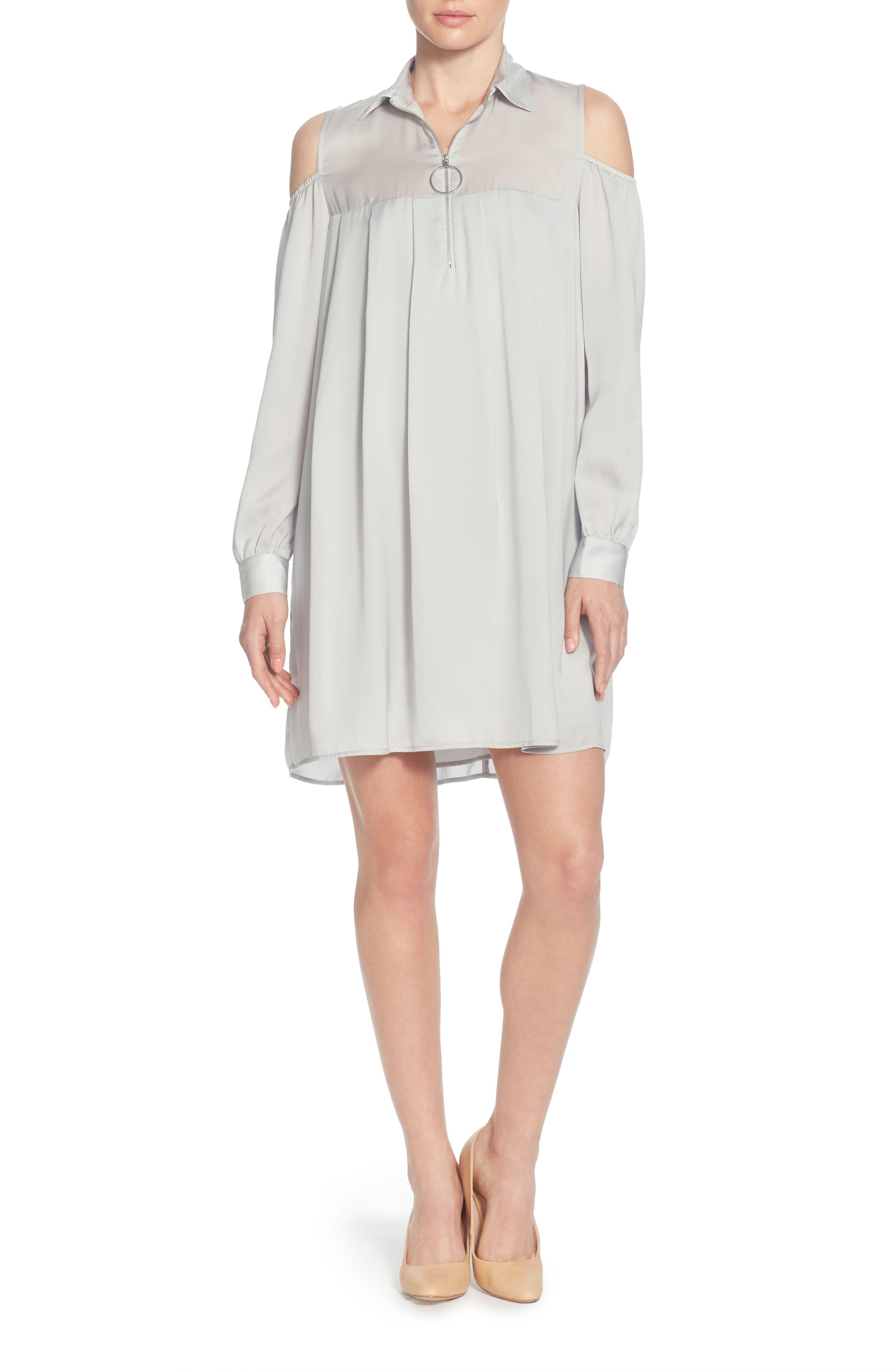 Massima Cold Shoulder Dress,                             Main thumbnail 1, color,                             Grey