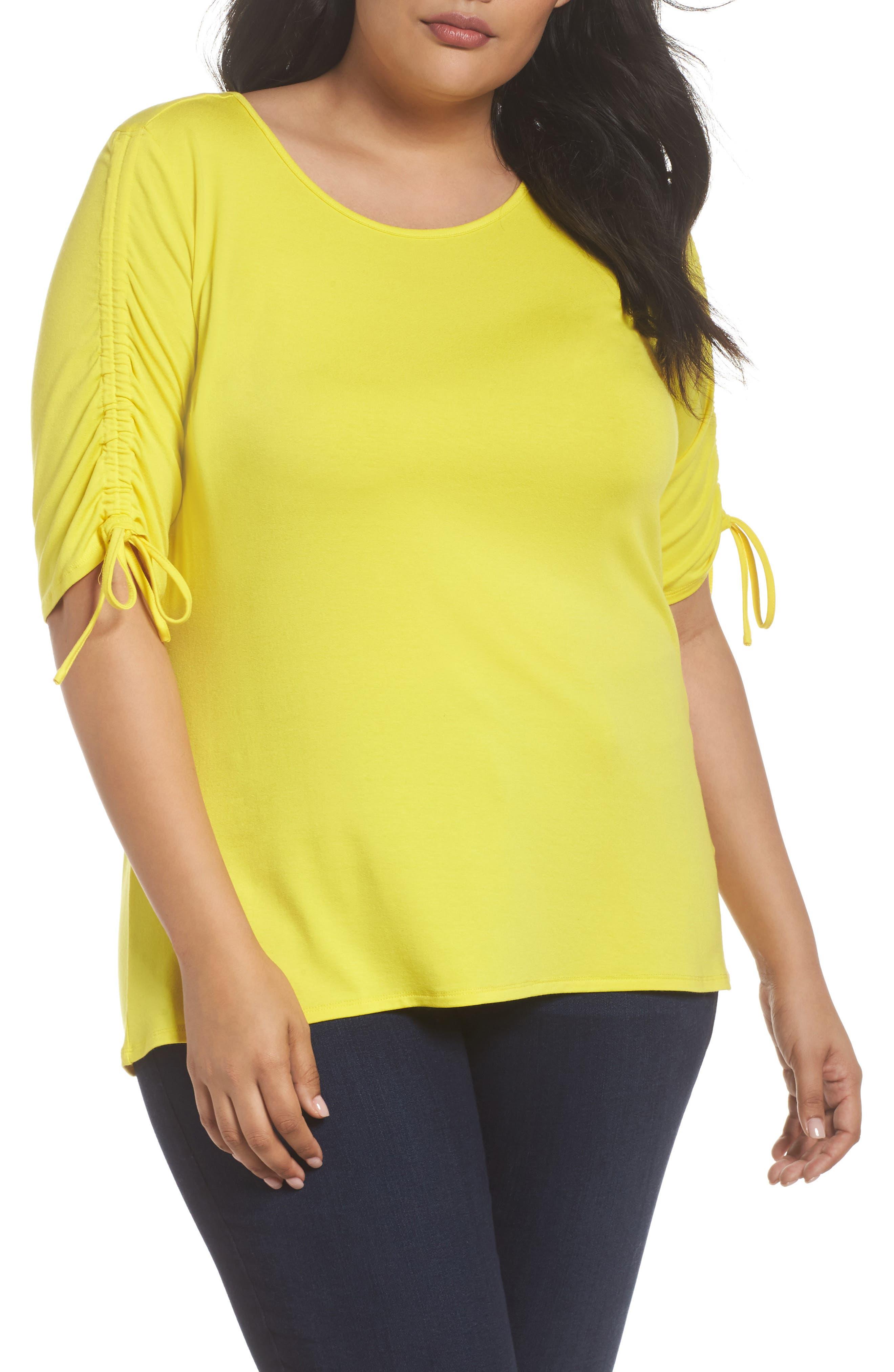 Drawstring Sleeve Top,                         Main,                         color, Cabana Yellow