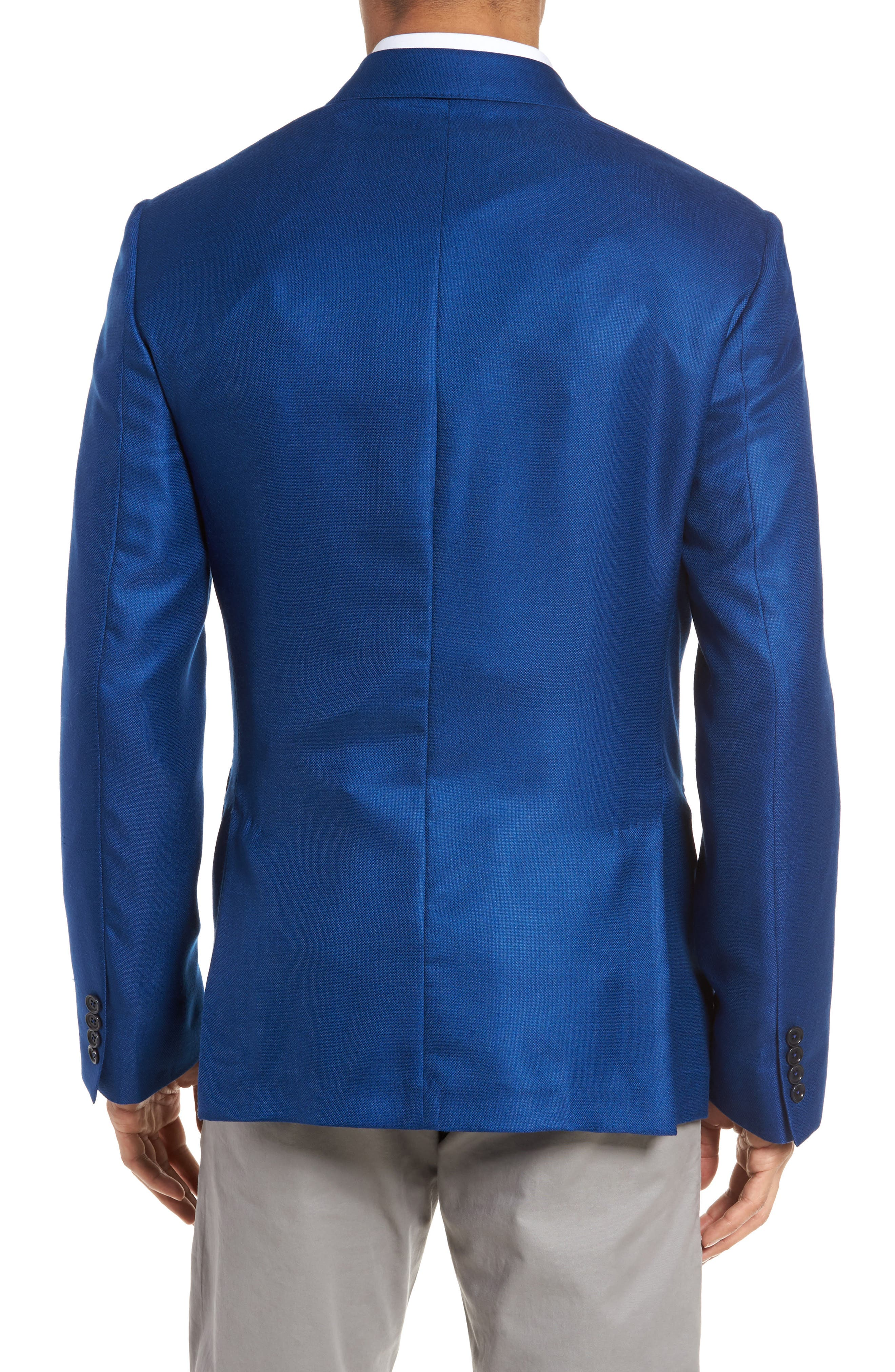 Trim Fit Cashmere & Silk Blazer,                             Alternate thumbnail 2, color,                             Blue