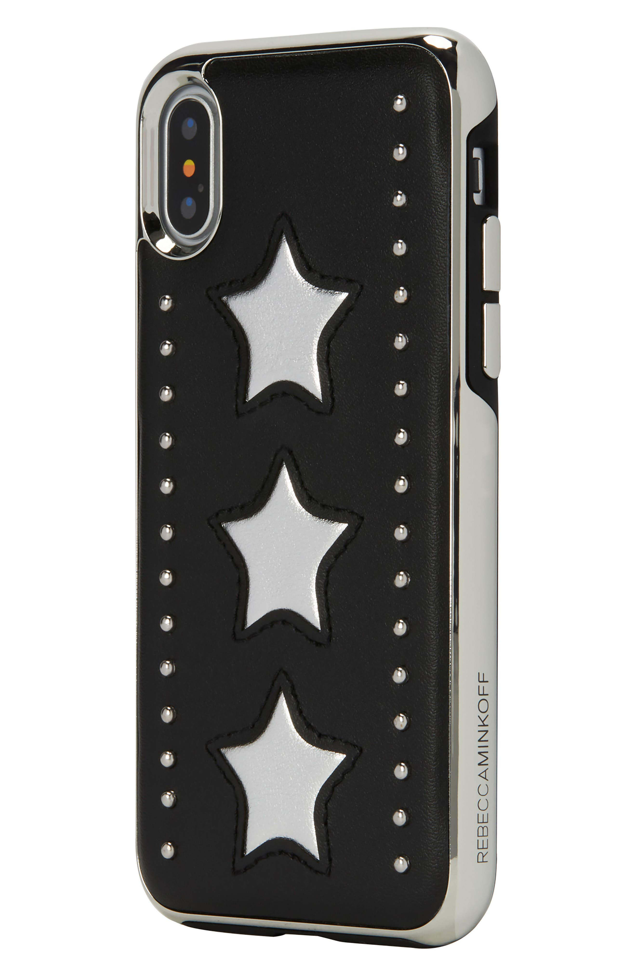 Leather Star iPhone X Case,                             Alternate thumbnail 3, color,                             Silver/ Black