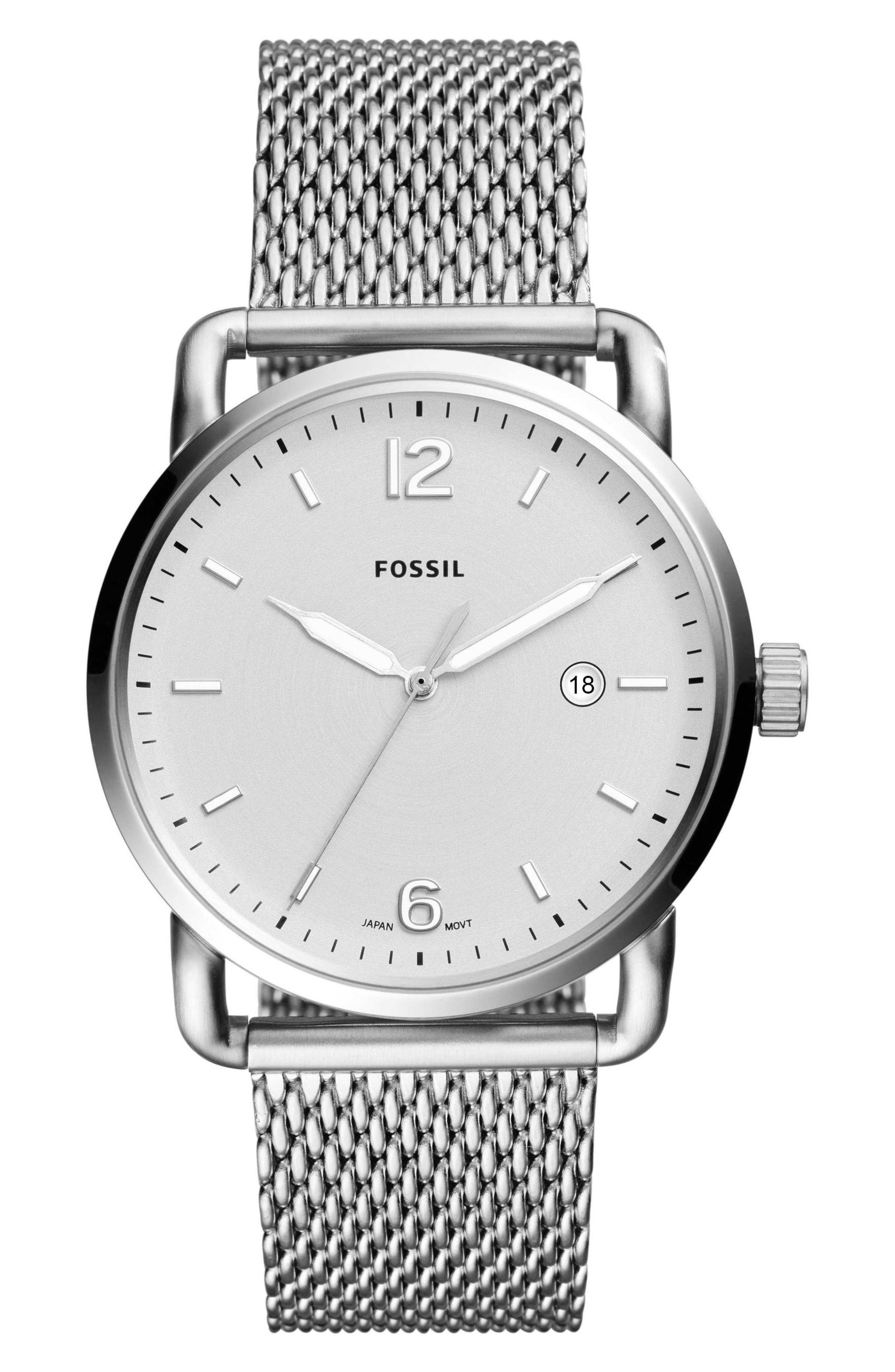 The Commuter Mesh Strap Watch, 42mm,                         Main,                         color, Silver